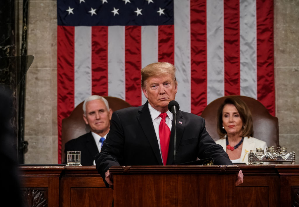 President Donald Trump, with Speaker Nancy Pelosi and Vice President Mike Pence looking on, delivers the State of the Union address in the chamber of the U.S. House of Representatives at the U.S. Capitol Building on Feb. 5, 2019 in Washington, D.C.