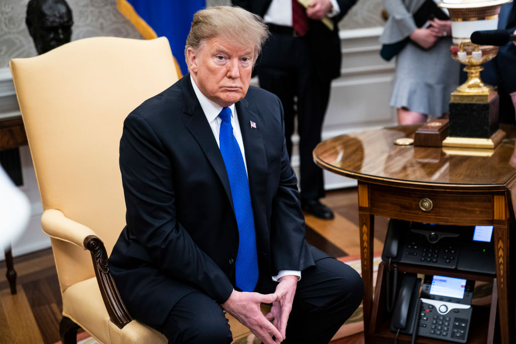 President Donald J. Trump listens during a meeting in the Oval Office at the White House on Feb. 13, 2019 in Washington, D.C. On Feb. 15, 2019 he said he expects an increase in trade with the U.K.