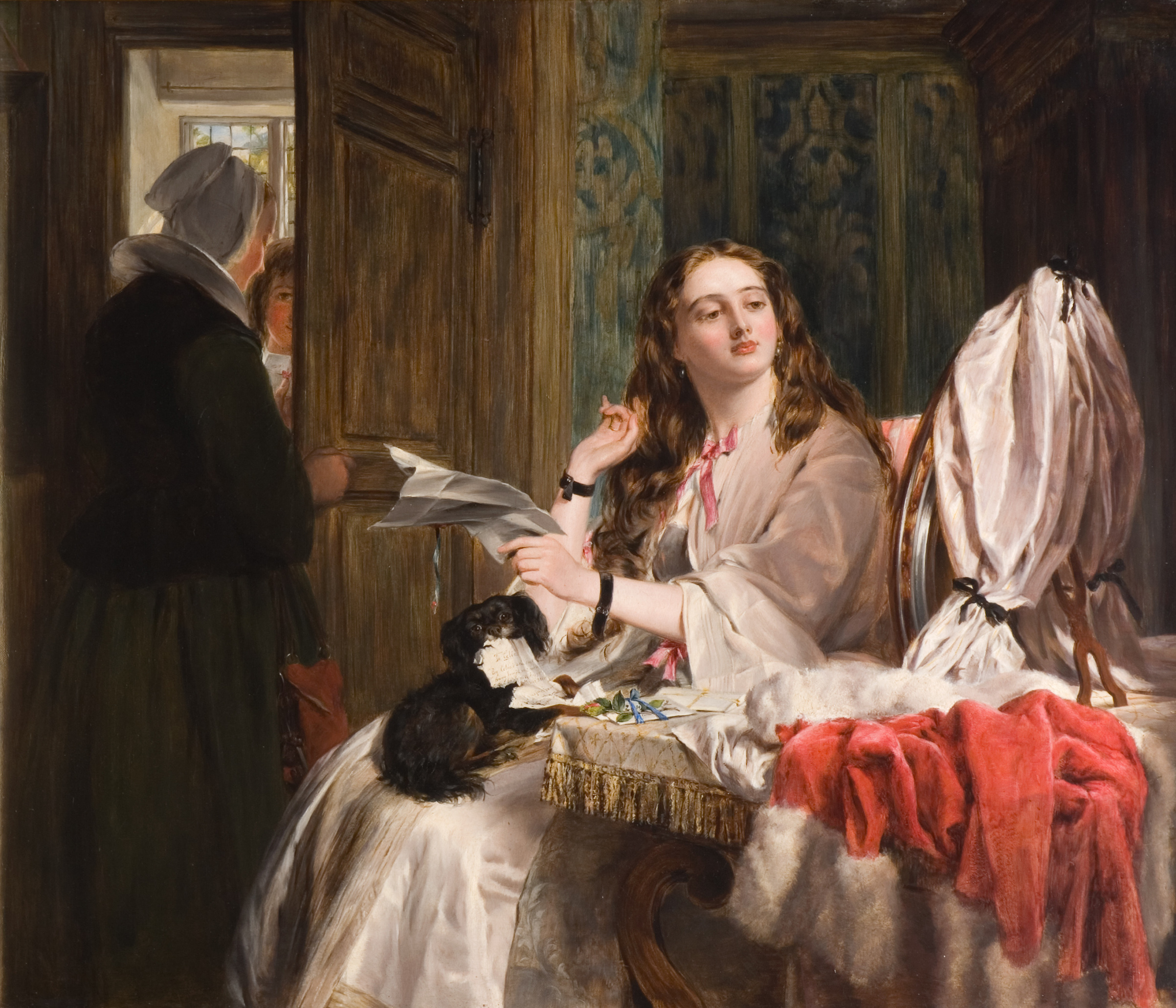 St. Valentine's Morning, 1863. Oil Painting by John Calcott Horsley (1817-1903). Oil painting showing a young woman in her room reading a letter with a black dog on her lap. At the door, which is being opened a lady in black, a male suitor waits to enter.