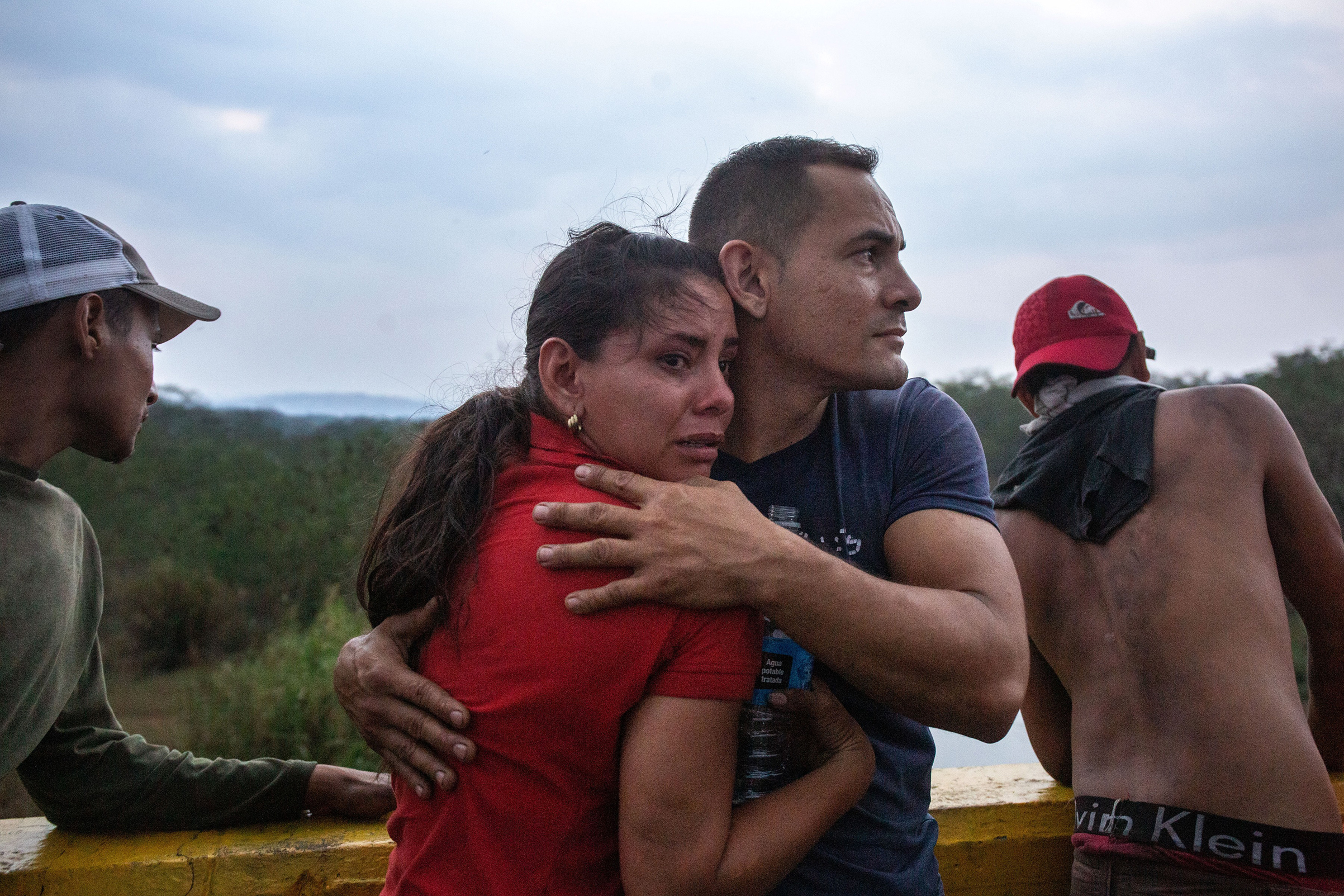 Opposition demonstrators on a bridge that connects Colombia and Venezuela, near the town of Ureña, on Feb. 23
