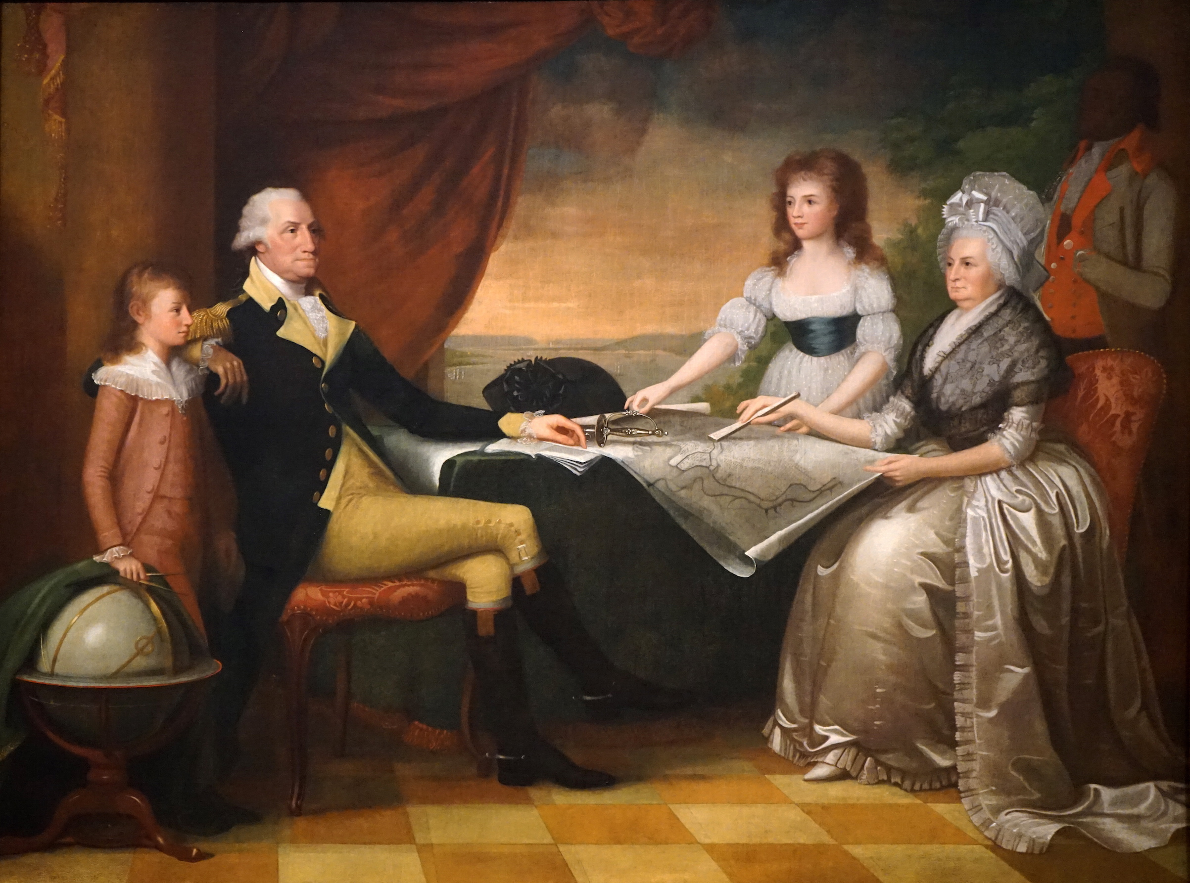 Portrait of George Washington (1732-1799) the 1st President of the United States of America, with Martha Washington and his family. Painted by Edward Savage (1761-1817) an American painter and engraver. Dated 18th Century.