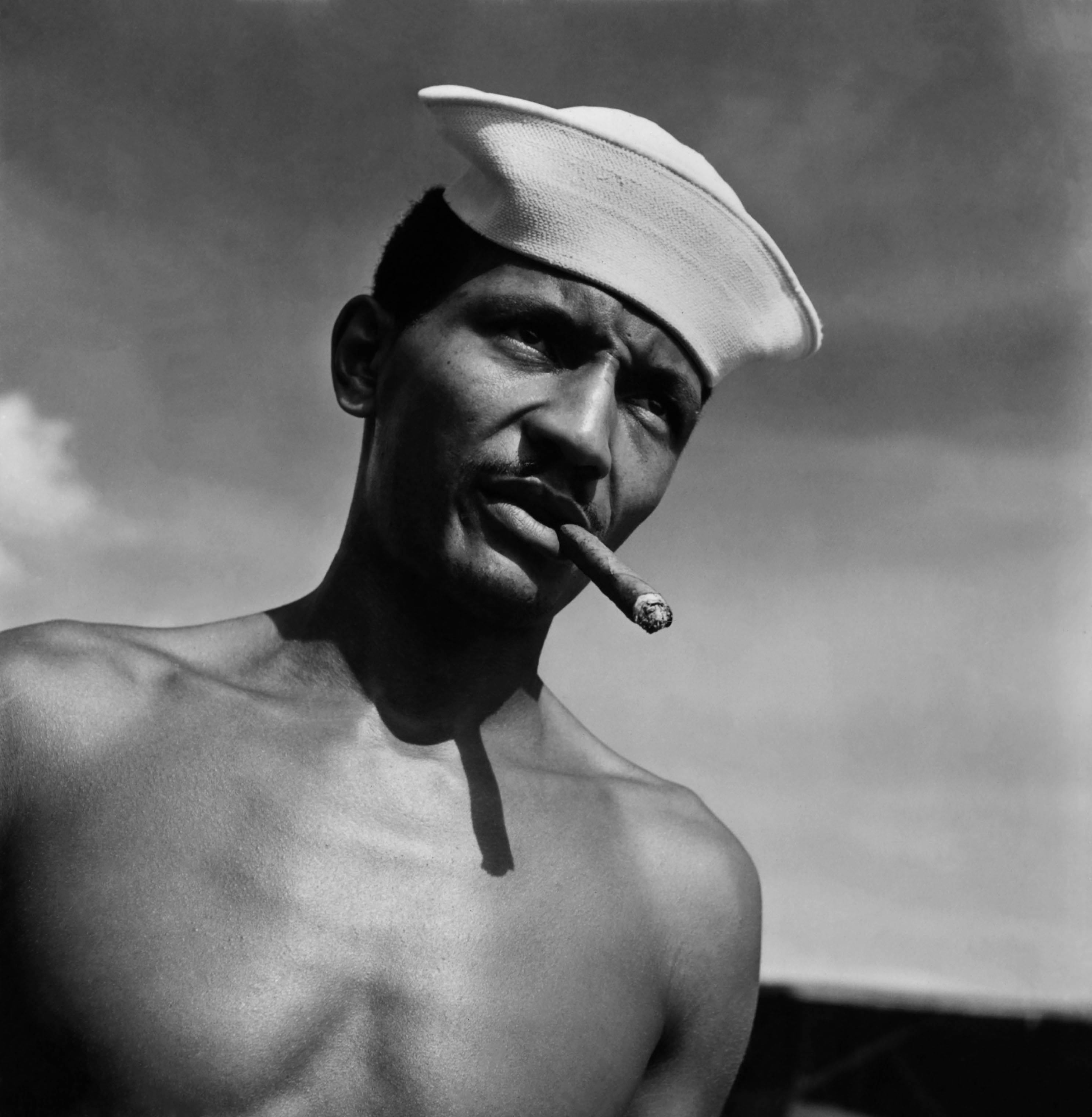 A soldier assigned to work as a laborer at the U.S. Naval Supply Depot on Guam, in 1945.