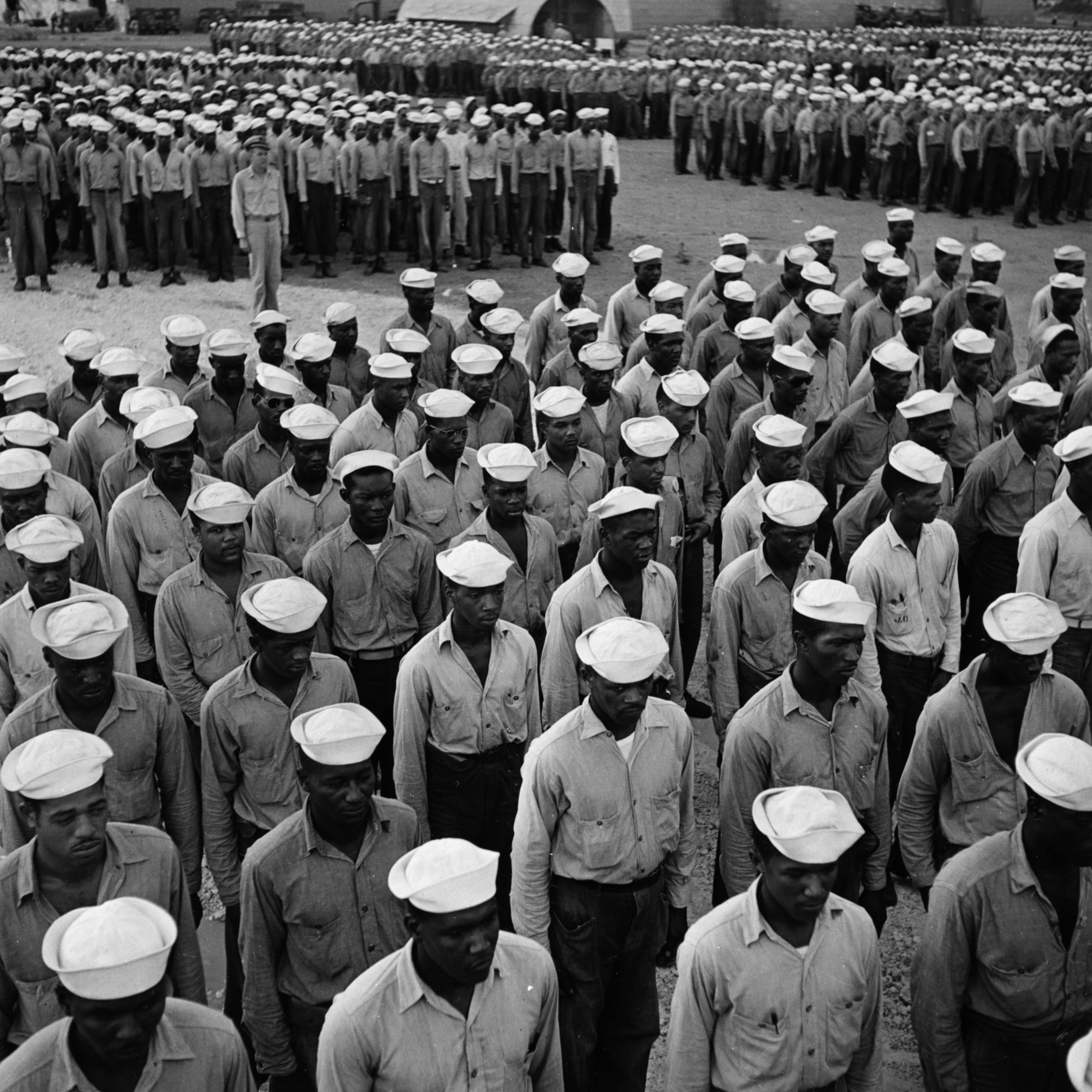 Sailors at the US Naval Supply Depot on Guam in 1945.