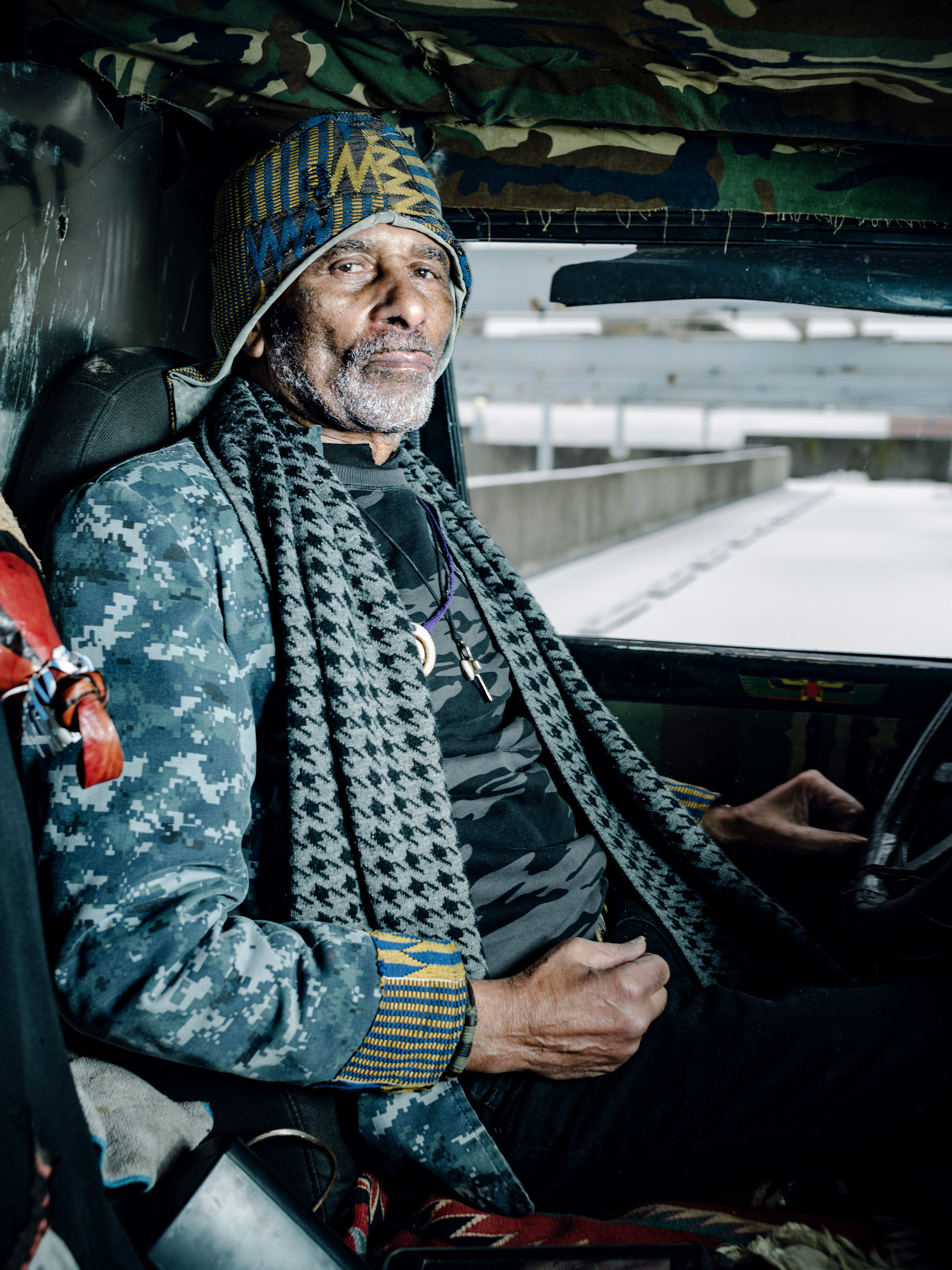 William  Tony  Maynard in Co-op City, Bronx, N.Y., on Feb. 20, sitting in the beloved Jeep that he has called home during road-trips nationwide.
