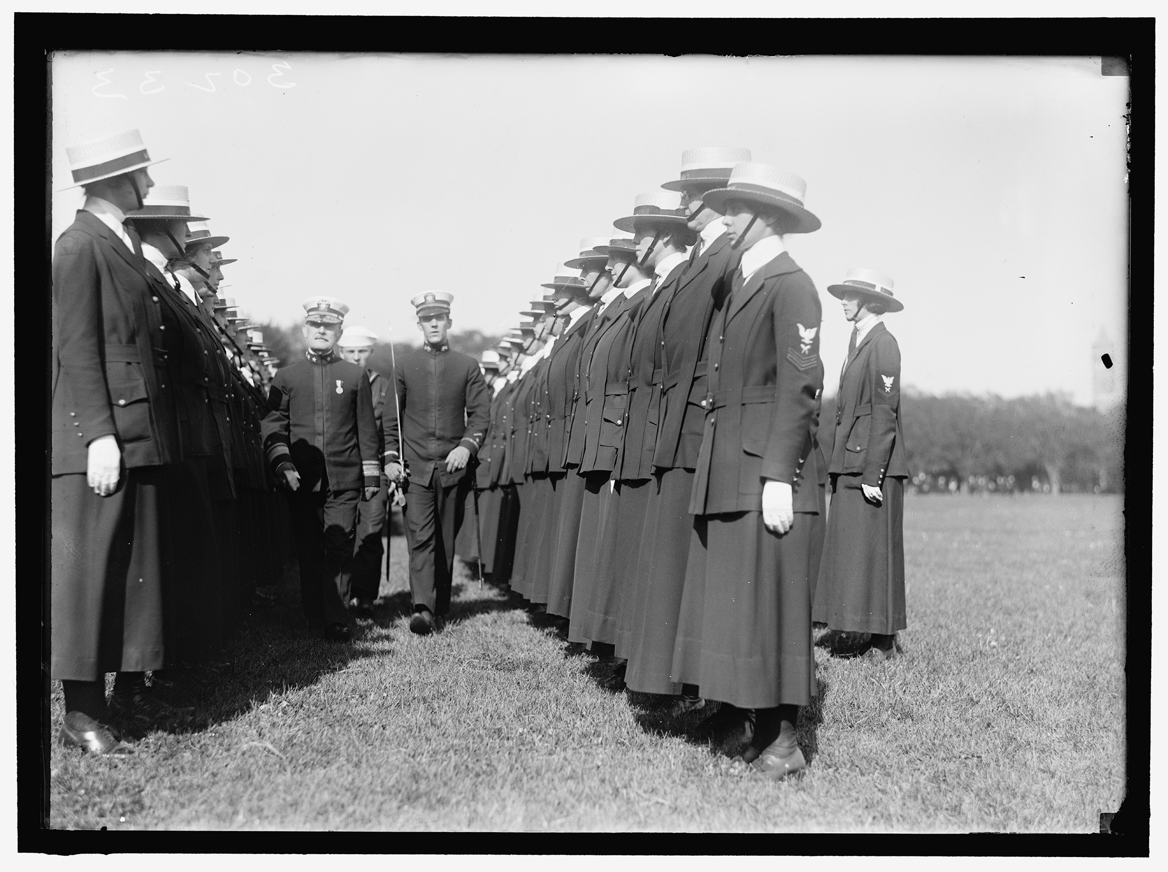 A group of Yeomanettes at an inspection in 1919