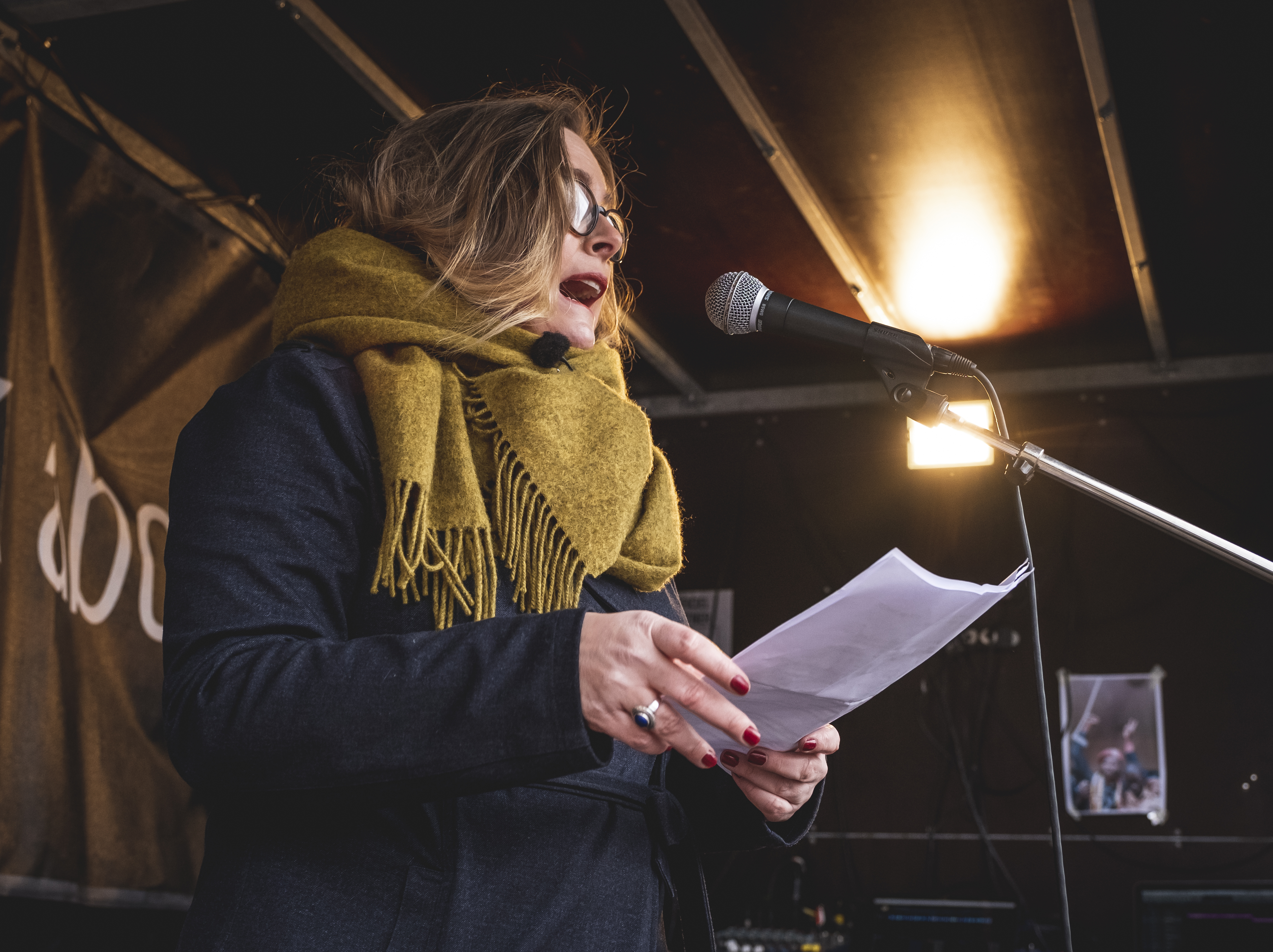 Rape survivor Kirstine Holst speaking at a consent demo in Denmark, campaigning with Amnesty to get the government to adopt consent based rape laws.