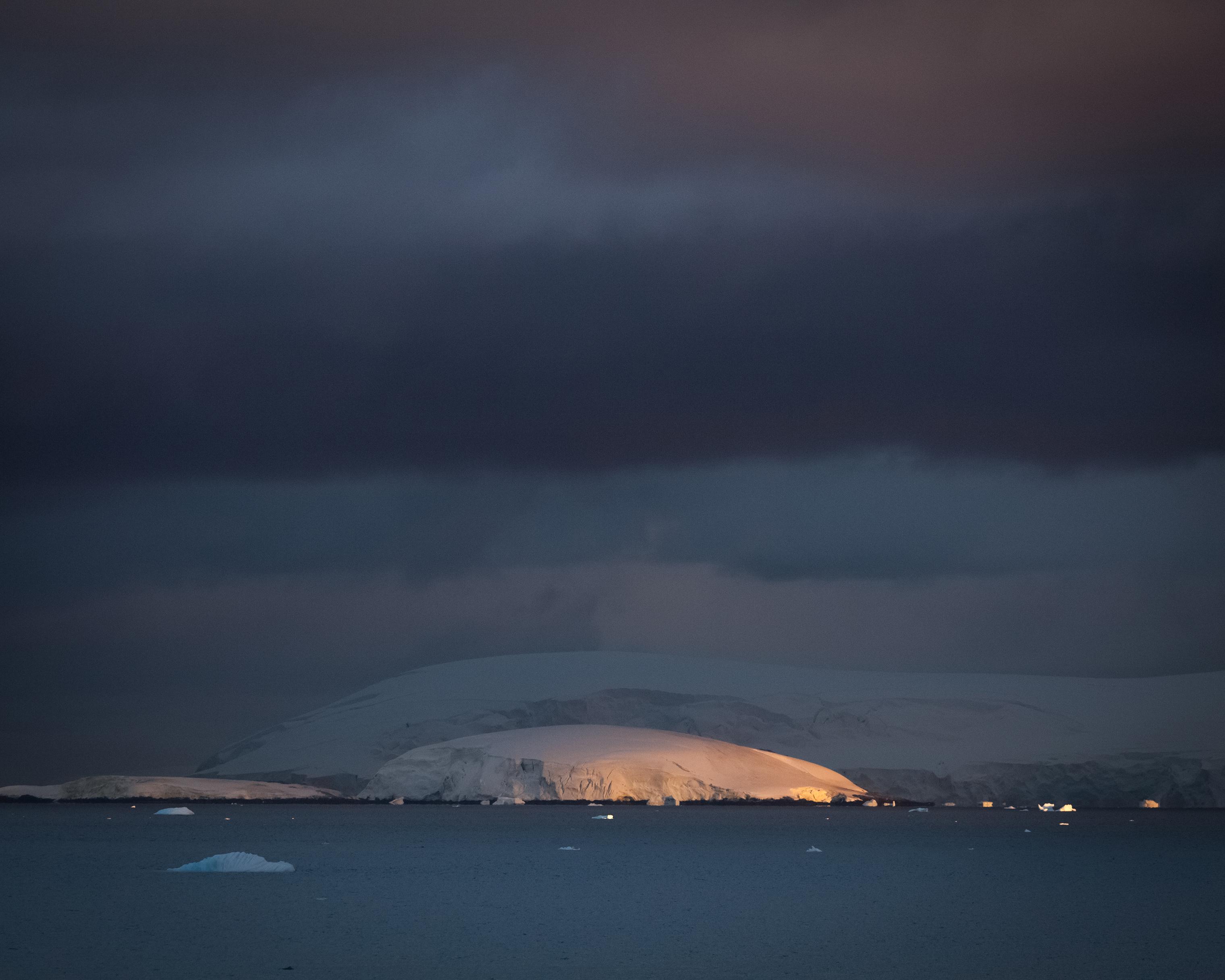 Sunrise near the Lemaire Channel, Antarctica.