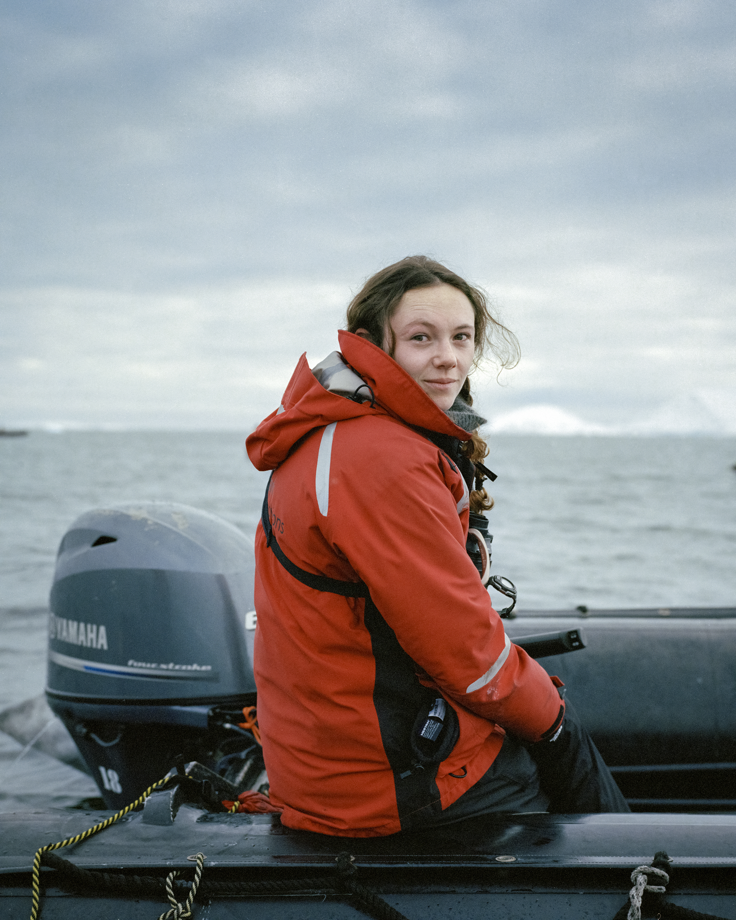 Justine Ryan, Polar historian and expedition guide from England, prepares her zodiac in Antarctica.