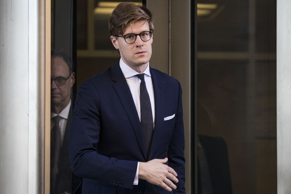 Alex Van der Zwaan leaves the U.S. District Courthouse in Washington, USA on Feb. 20, 2018.