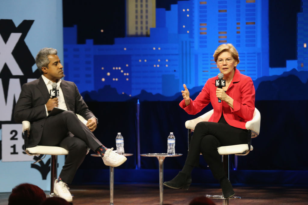 Anand Giridharadas (L) interviews Elizabeth Warren at 'Conversations About America's Future: Senator Elizabeth Warren' at ACL Live at The Moody Theater  during the SXSW Conference And Festival on Mar. 9, 2019 in Austin, Texas.