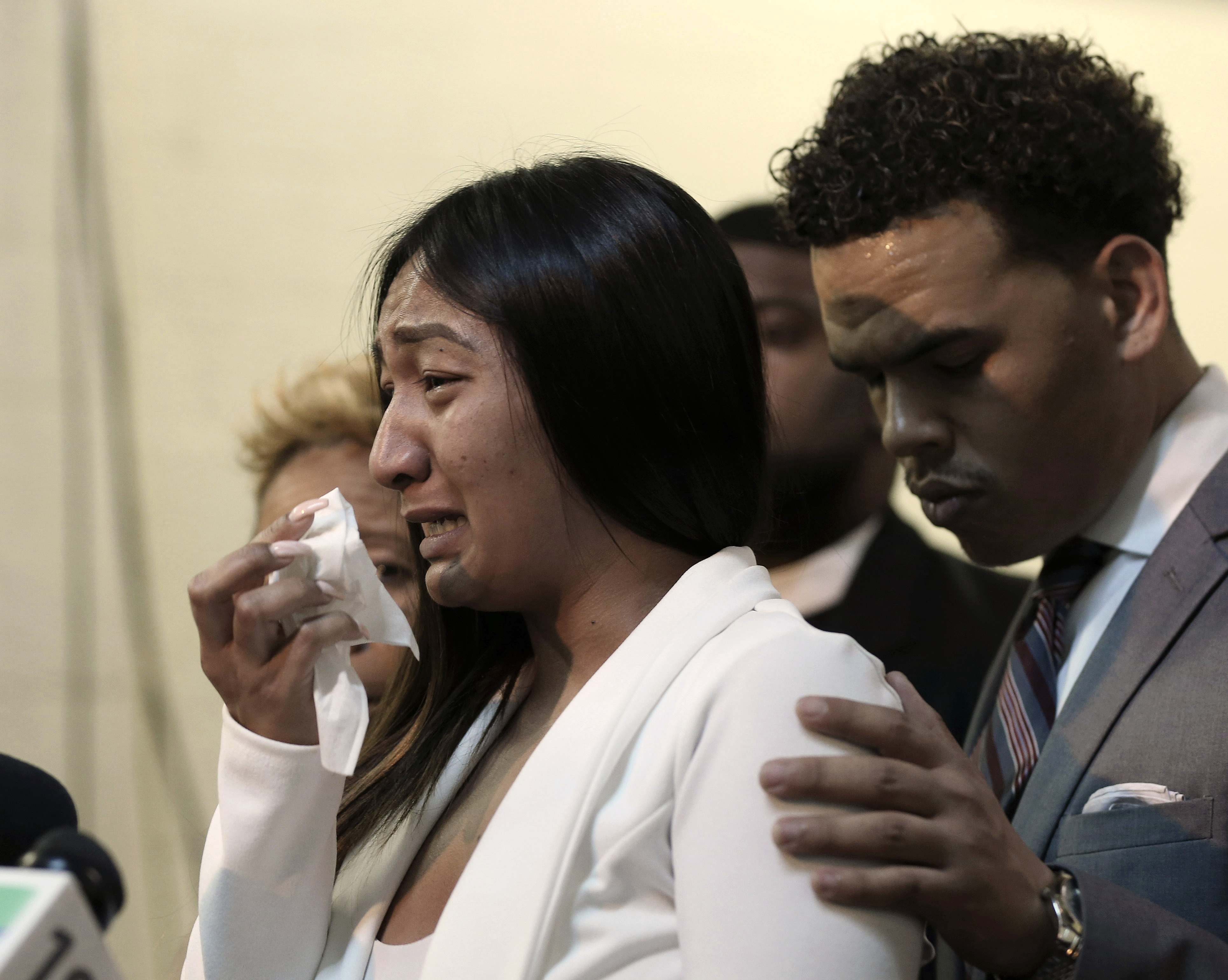 Salena Manni, the fiancee of Stephon Clark, who was shot and killed by Sacramento police in 2018, cries as she discusses the decision to not file charges against the two officers involved, during a news conference in Sacramento, Calif., Saturday, March 2, 2019.