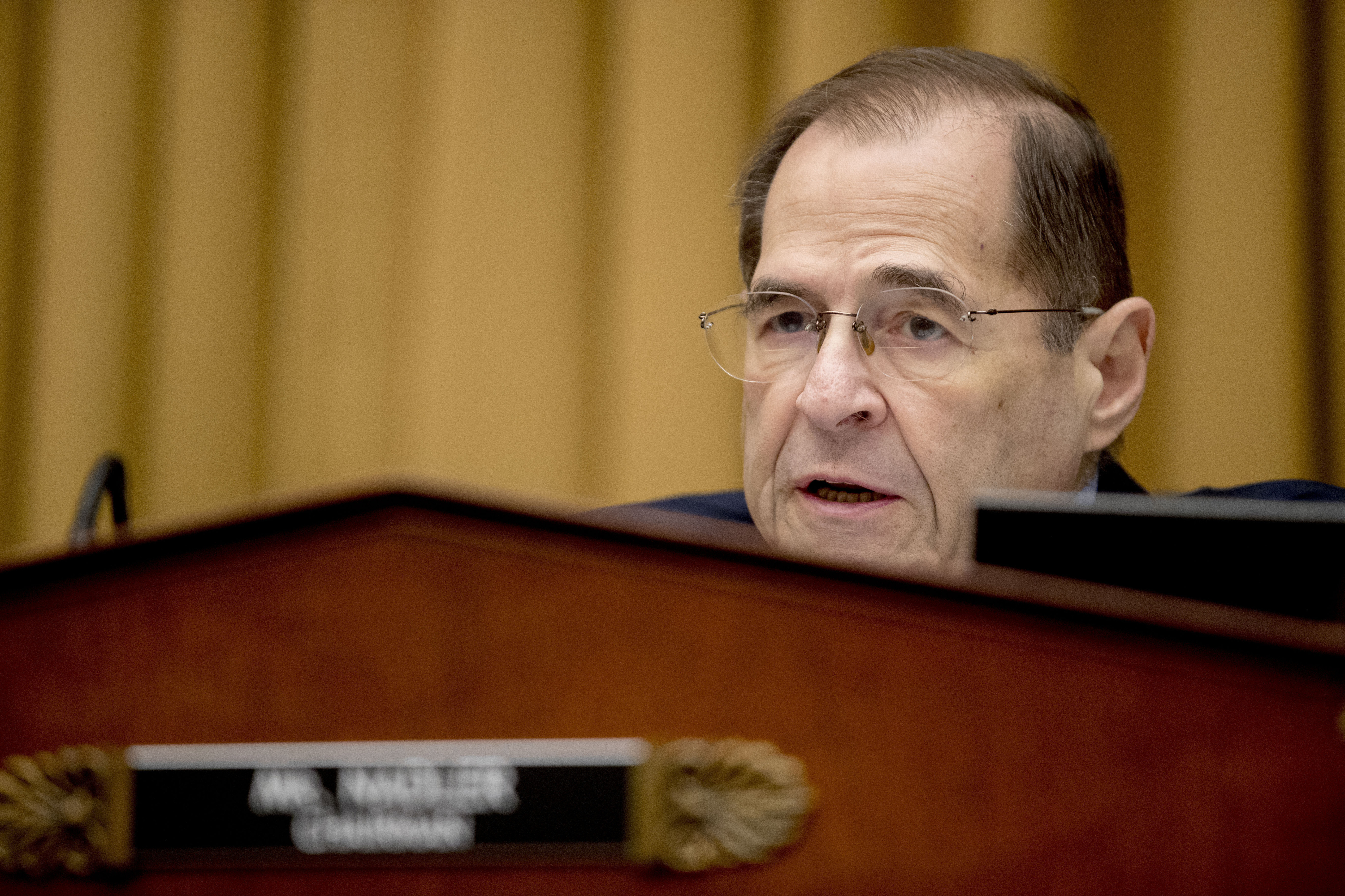 FILE - In this Friday, Feb. 8, 2019 file photo, Judiciary Committee Chairman Jerrold Nadler, D-N.Y., questions Acting Attorney General Matthew Whitaker as he appears before the House Judiciary Committee on Capitol Hill, in Washington.