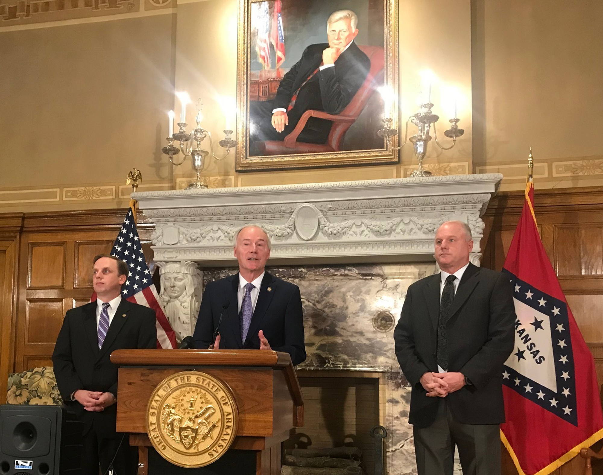 Arkansas Gov. Asa Hutchinson speaks at a news conference about a ruling against the state's work requirement for its Medicaid expansion program at the state Capitol in Little Rock, Ark. on March 28, 2019.