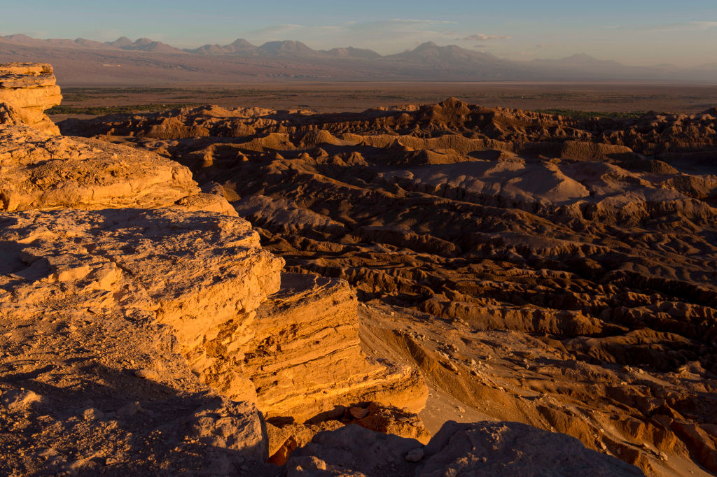 View at sunset from the overlook of the rock formation in the Valley of the Moon near San Pedro de Atacama in the Atacama Desert in northern Chile.