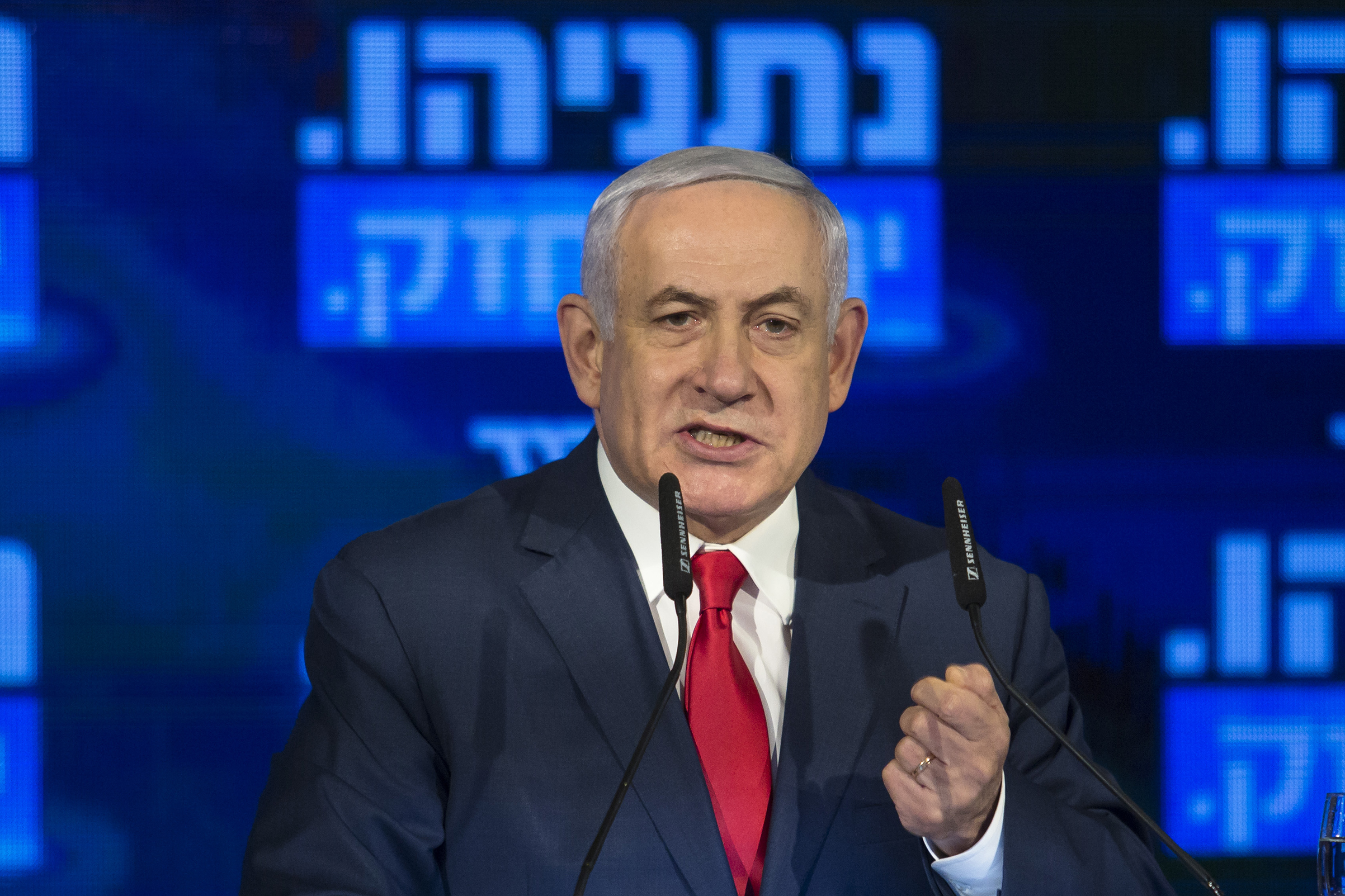 Israel's Prime Minster Benjamin Netanyahu delivers a speech on March 4, 2019