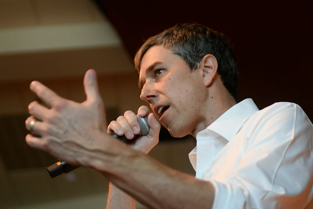 Beto O'Rourke gives a speech during a campaign stop in State College, PA on March 19, 2019.
