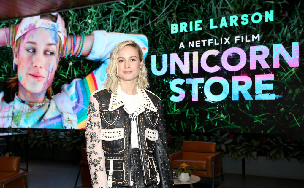 Brie Larson attends  Unicorn Store  Screening and Q&A at NETFLIX on March 26, 2019 in Los Angeles, California. Netflix commented on March 28, 2019 after a Twitter user criticized Brie Larson on the trailer of her directorial debut movie 'Unicorn Store'.