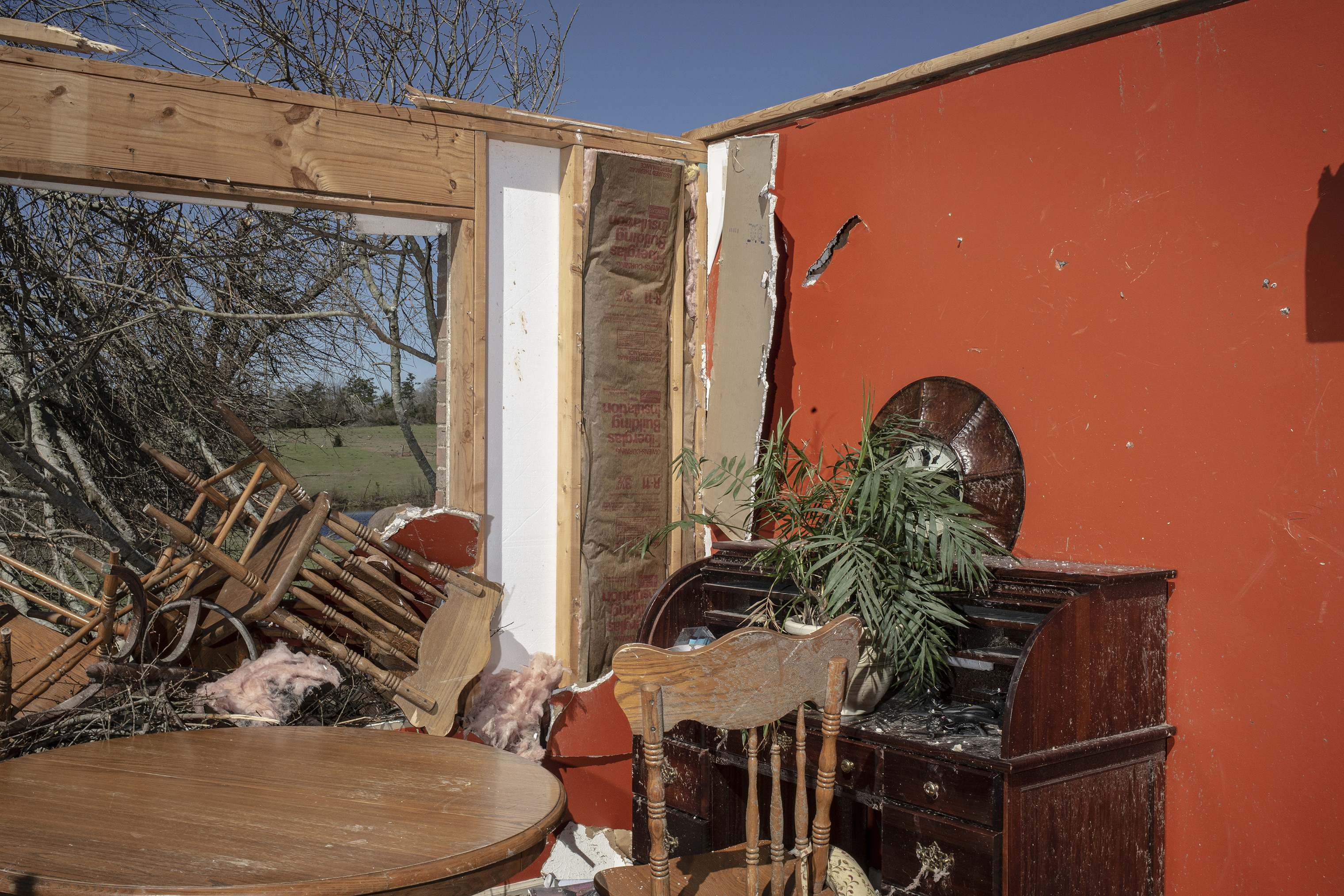 The Mattocks' dining room after a tornado passed over, killing several people and destroying homes in Beauregard, Alabama on March 4, 2019.