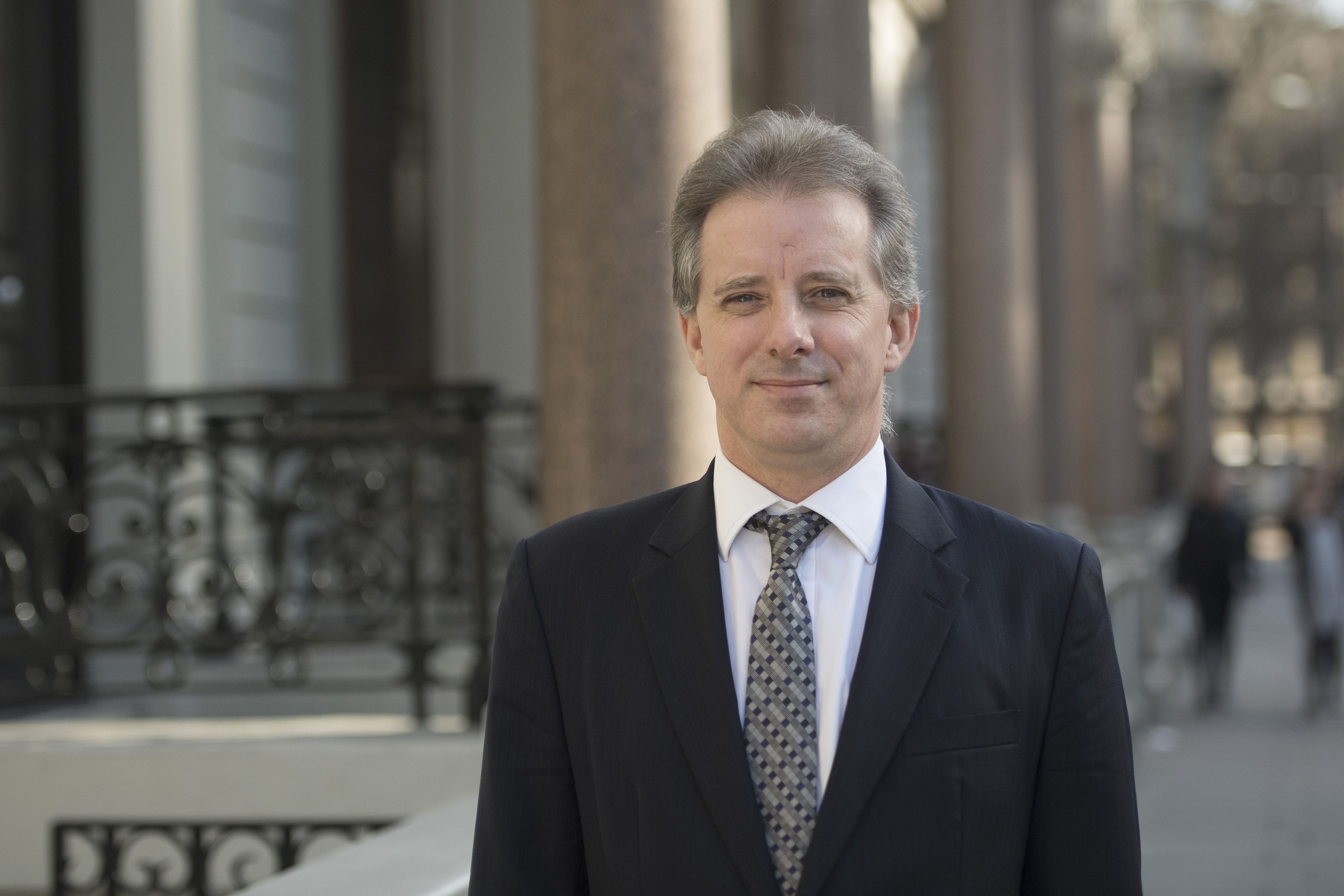 Christopher Steele, the former MI6 agent who set-up Orbis Business Intelligence and compiled a dossier on Donald Trump, in London where he spoke to the media for the first time.