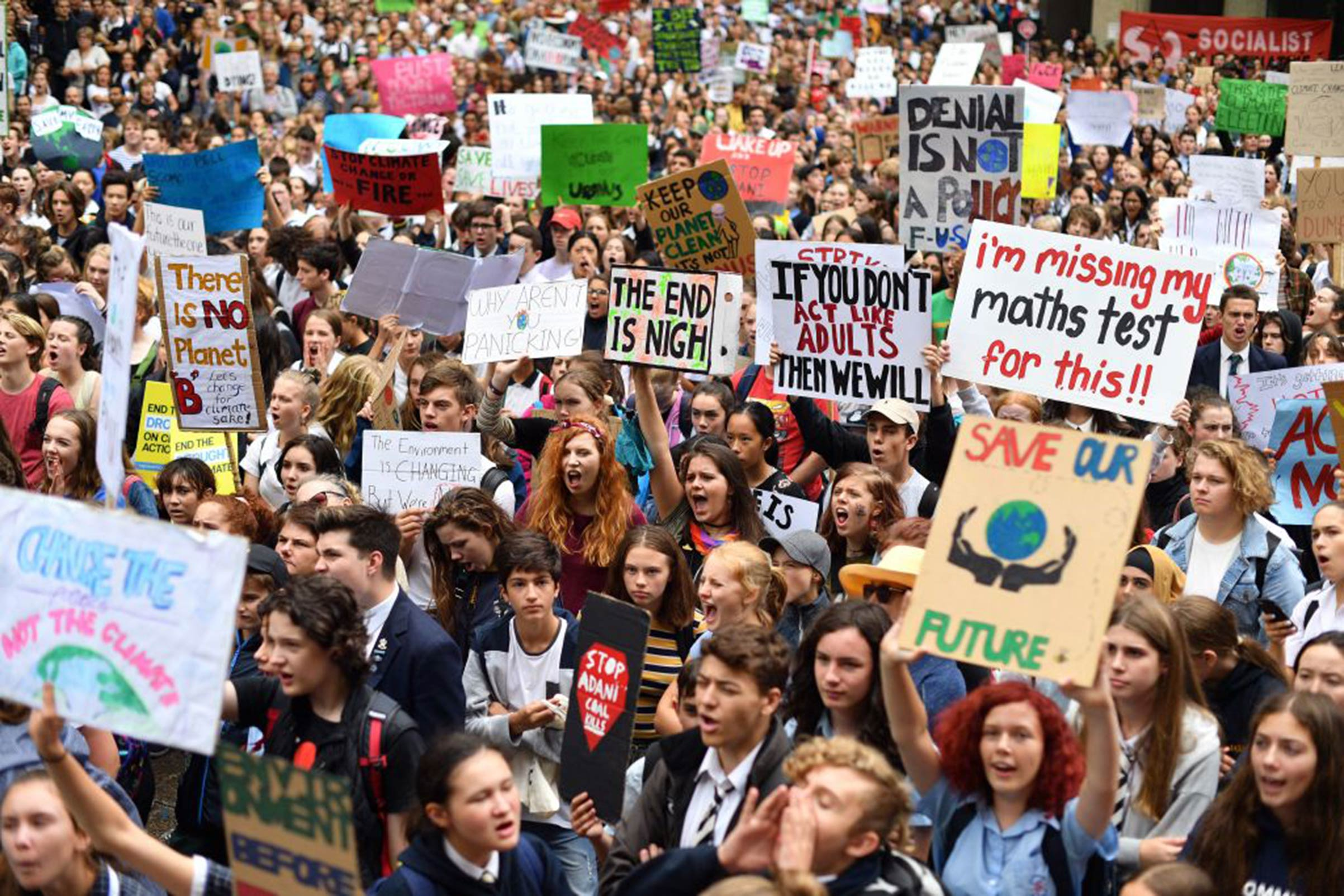 Schoolchildren protest inadequate progress to address climate change on Mar. 15 in Sydney, Australia.