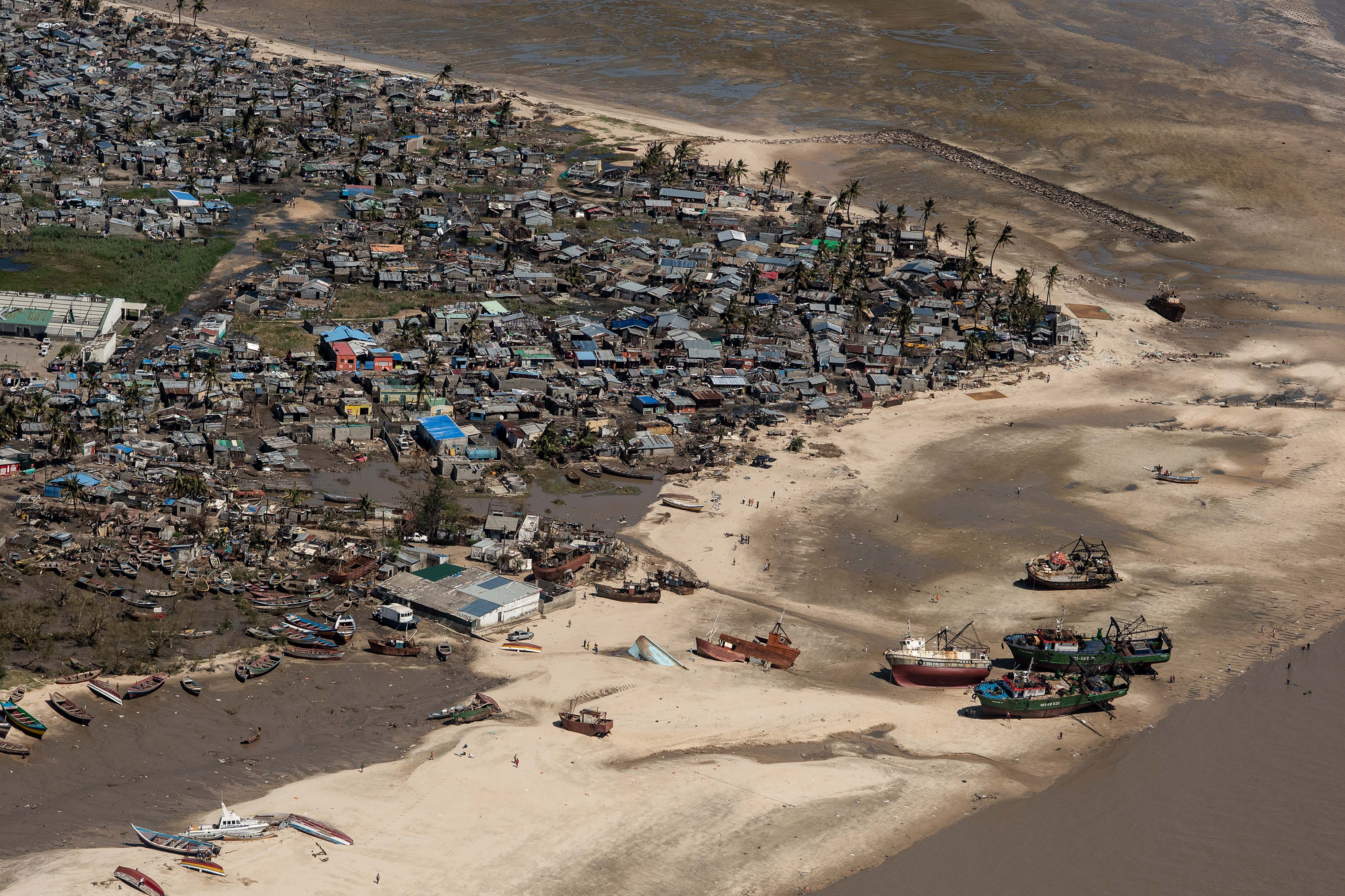 An aerial view of a neighborhood affected by Cyclone Idai on March 24, 2019 in Beira, Mozambique.
