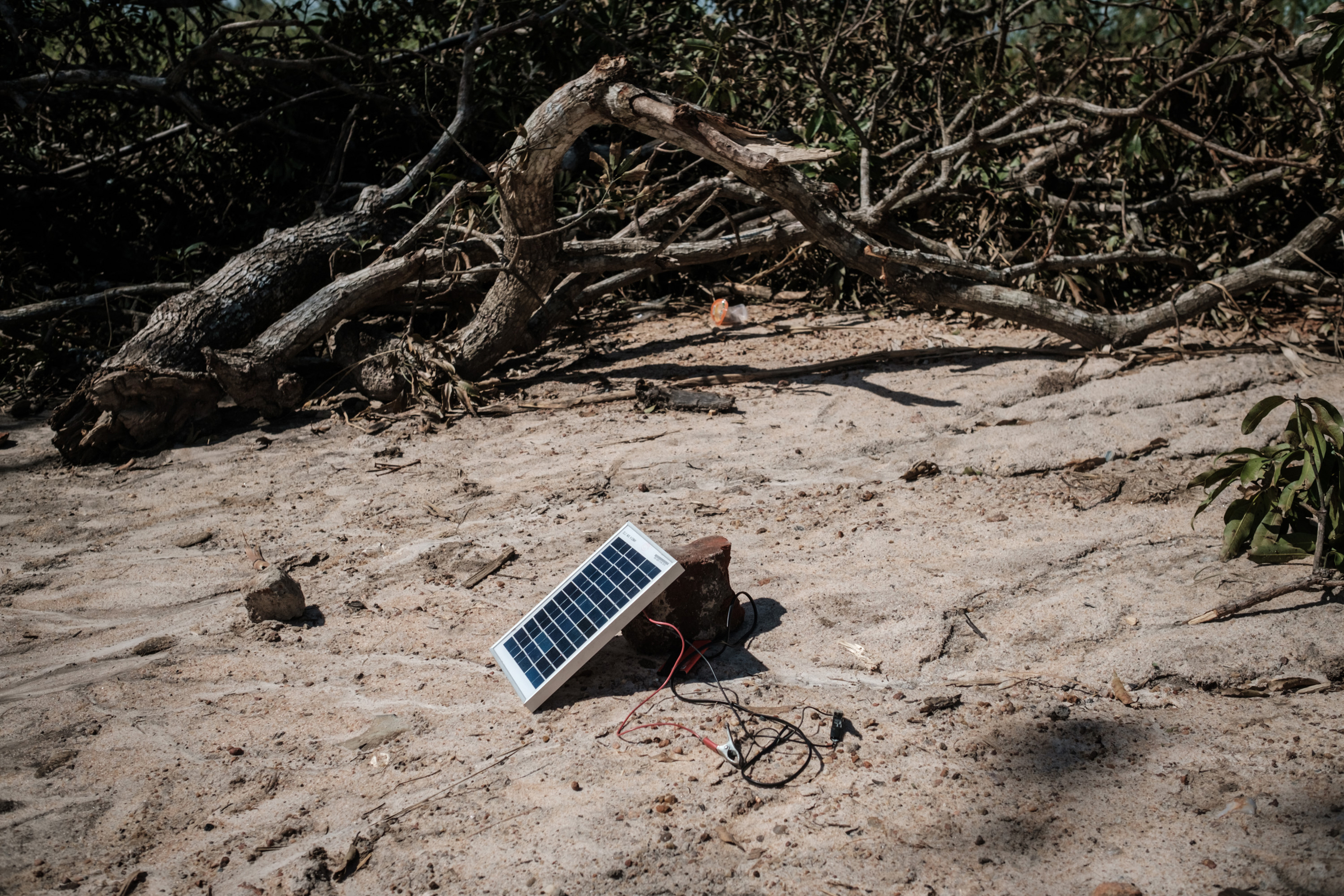 A solar charger is seen beside trees destroyed by cyclone Idai in Tica, Mozambique, on March 24, 2019.