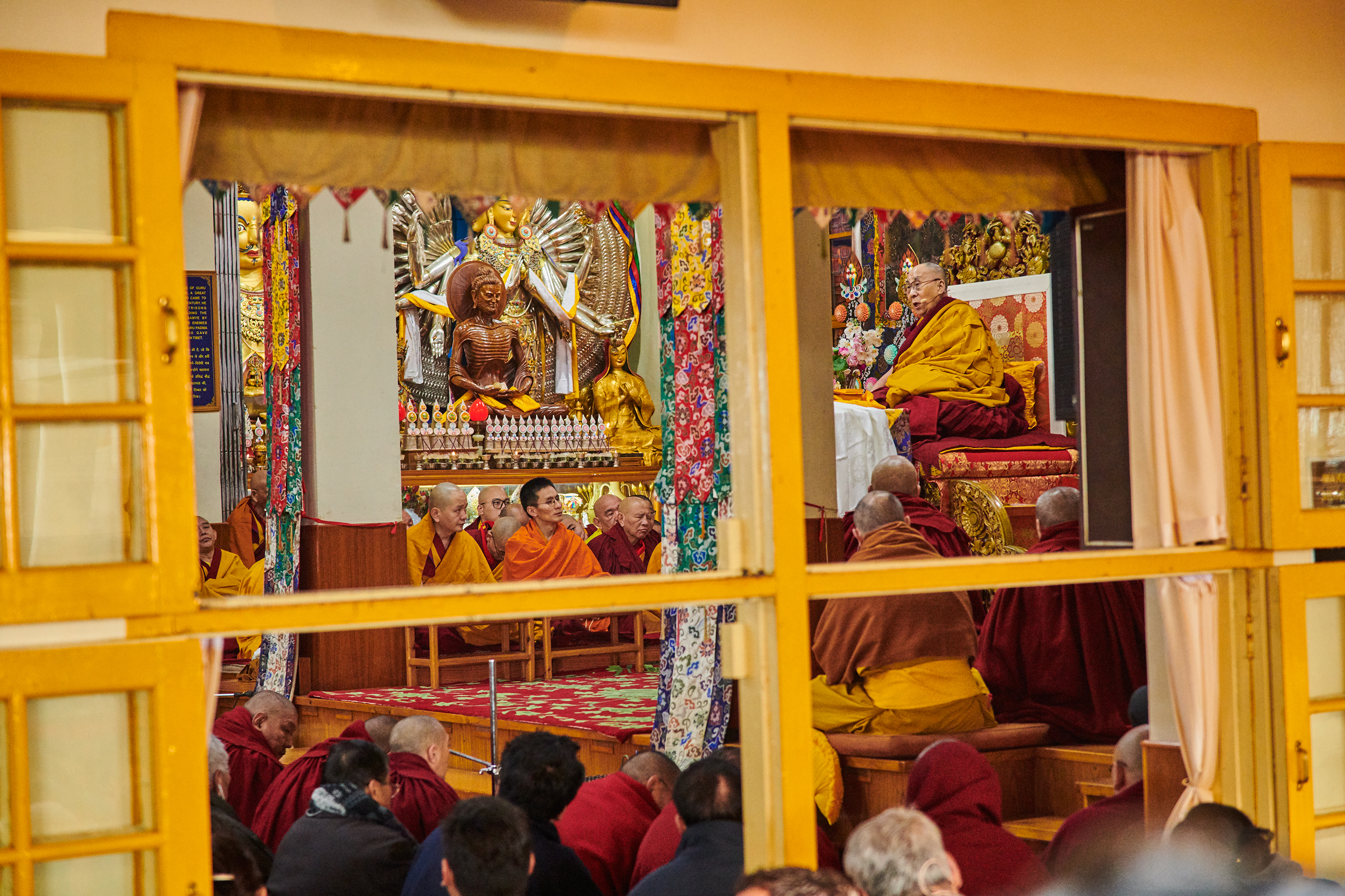 The Dalai Lama delivers a lecture from his throne on Feb. 18 to mark Losar, the Tibetan new year.