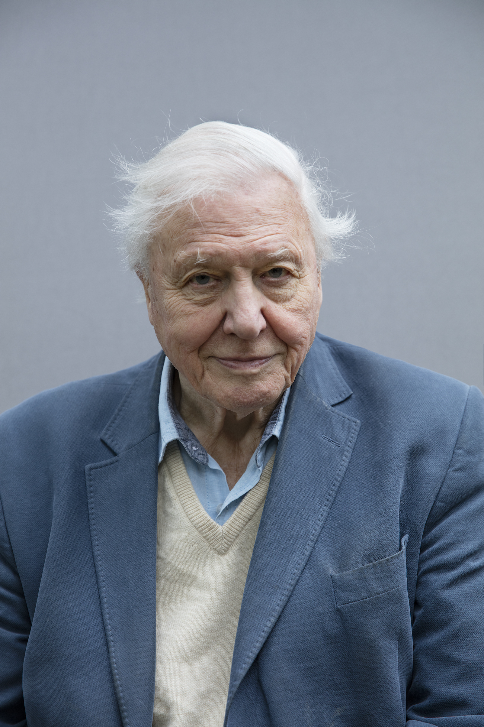 Sir David Attenborough poses for a portrait at the Royal Botanic Gardens, Kew, London, in February.