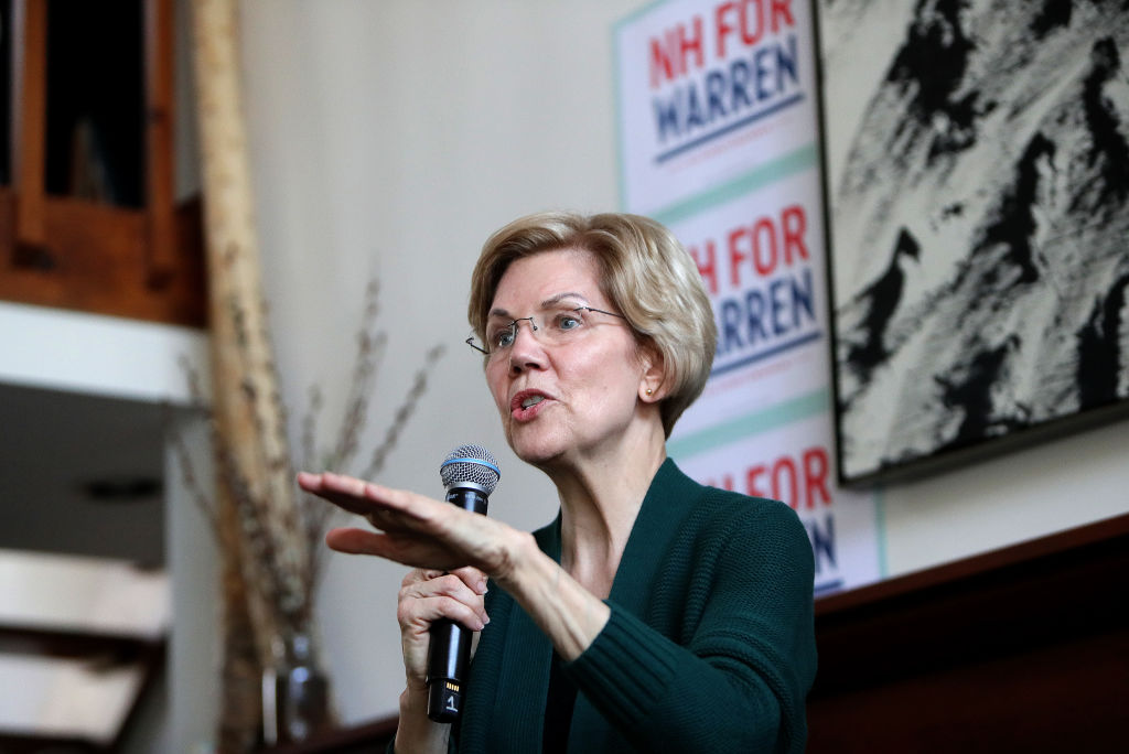 U.S. Senator and presidential candidate Elizabeth Warren speaks to supporters in Salem, NH on March 15, 2019. During a Mississippi town hall broadcast on CNN on March 19, 2019, Warren said she supports the elimination of the electoral college.