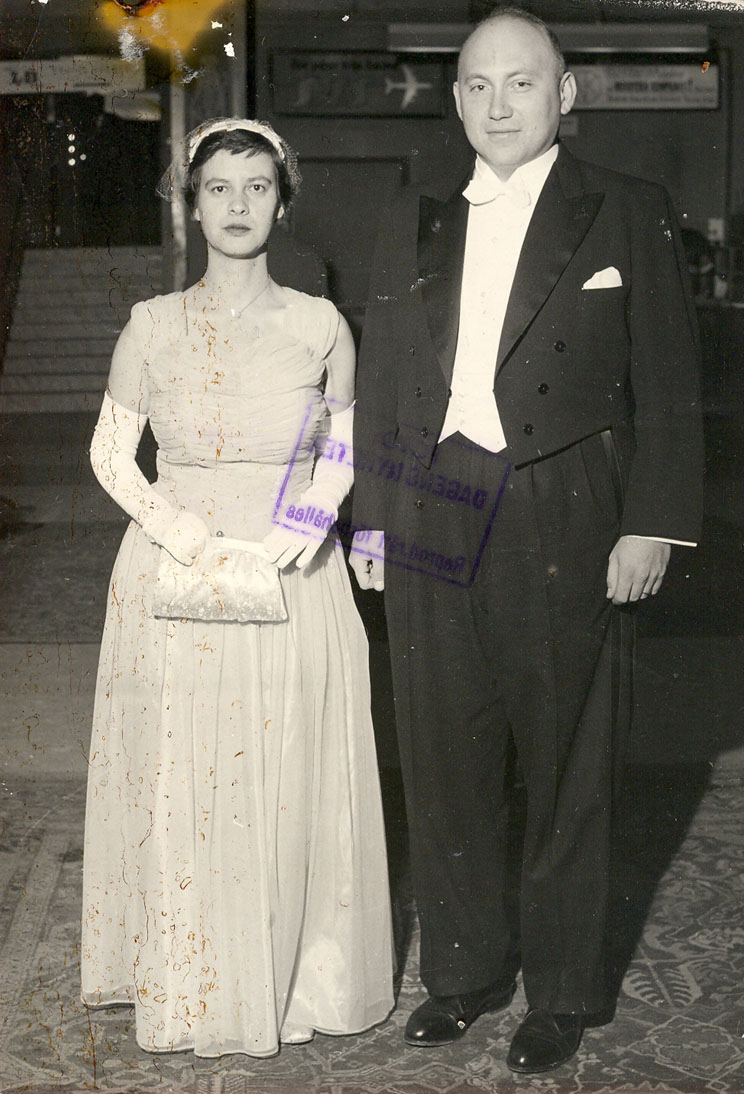 Lederberg with her first husband, Joshua at the Nobel Prize ceremony in Stockholm in 1958