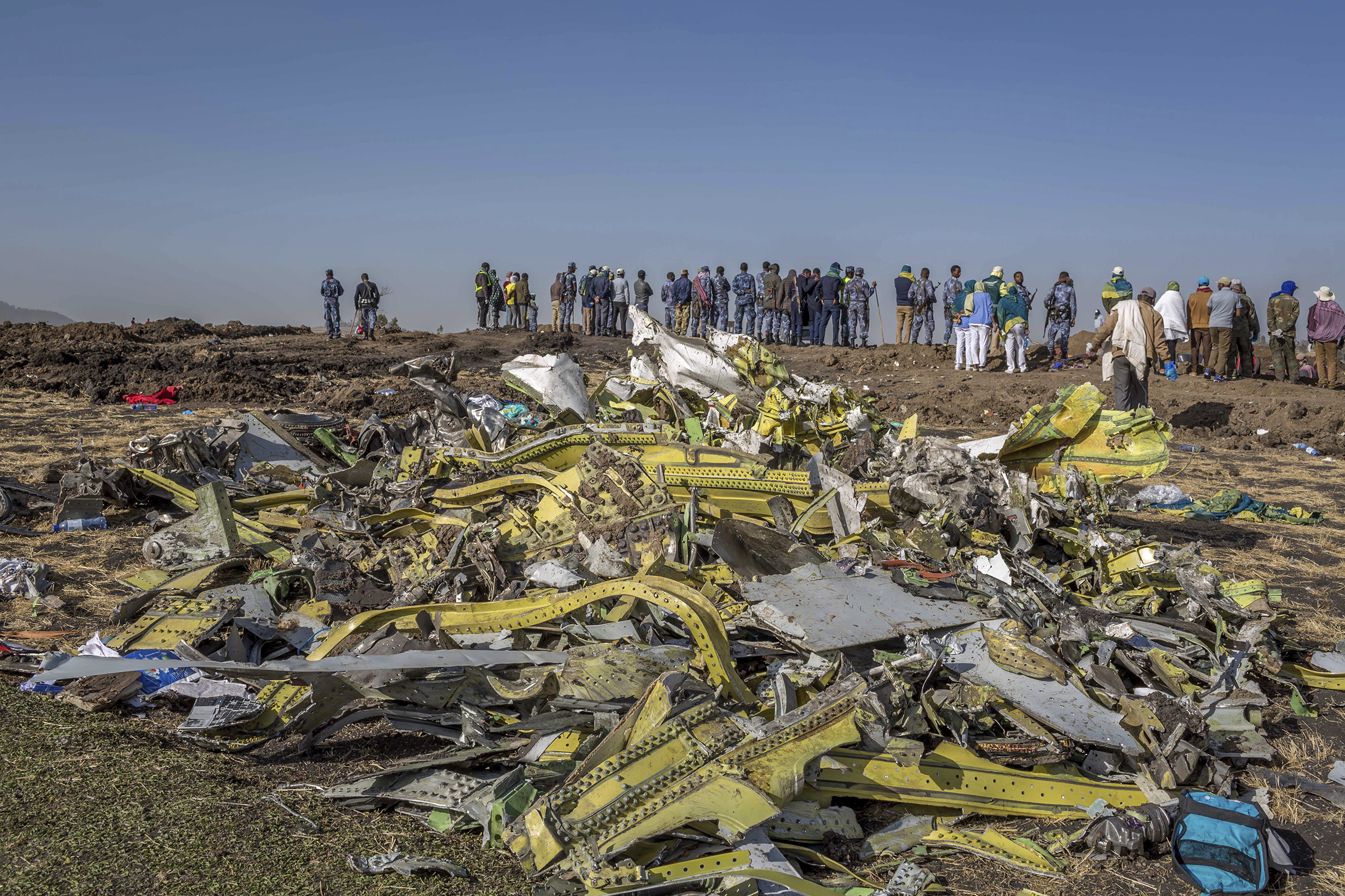 Wreckage near Bishoftu, south of Addis Ababa, after the March 10 Ethiopian Airlines crash