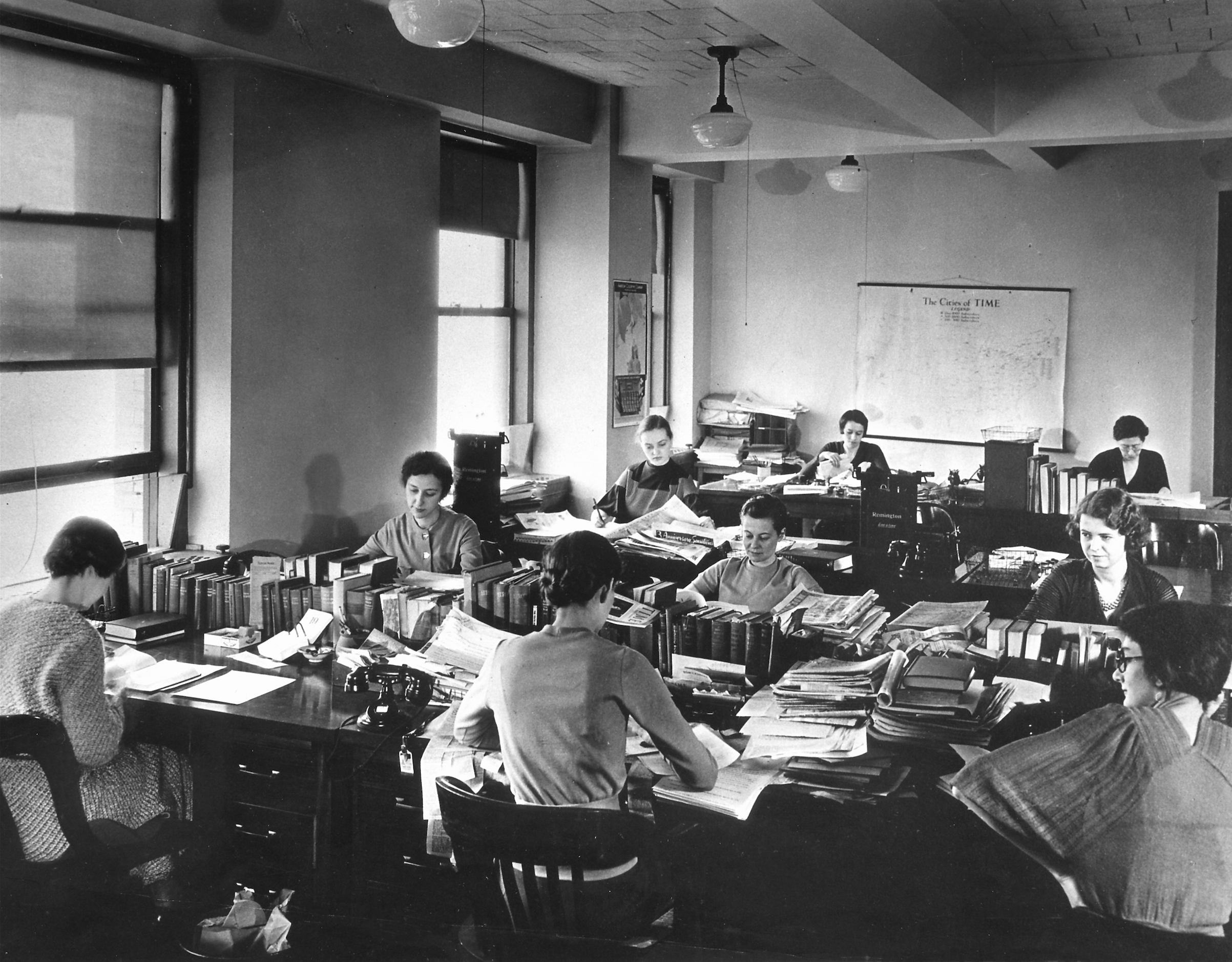 Female TIME magazine staffers at work in 1933