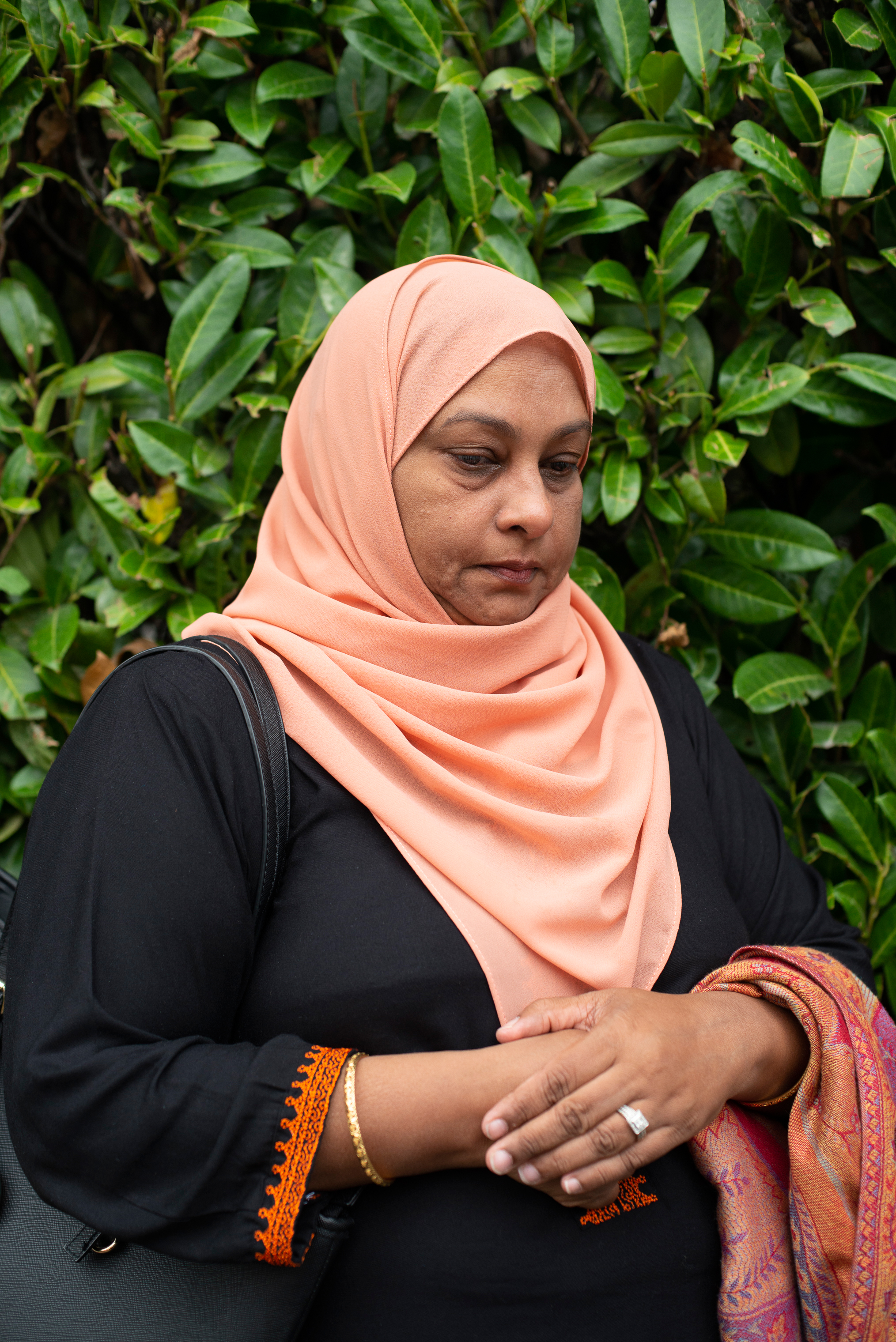 Farah Raza, 50, a cousin of a victim, mourns in Christchurch, New Zealand.