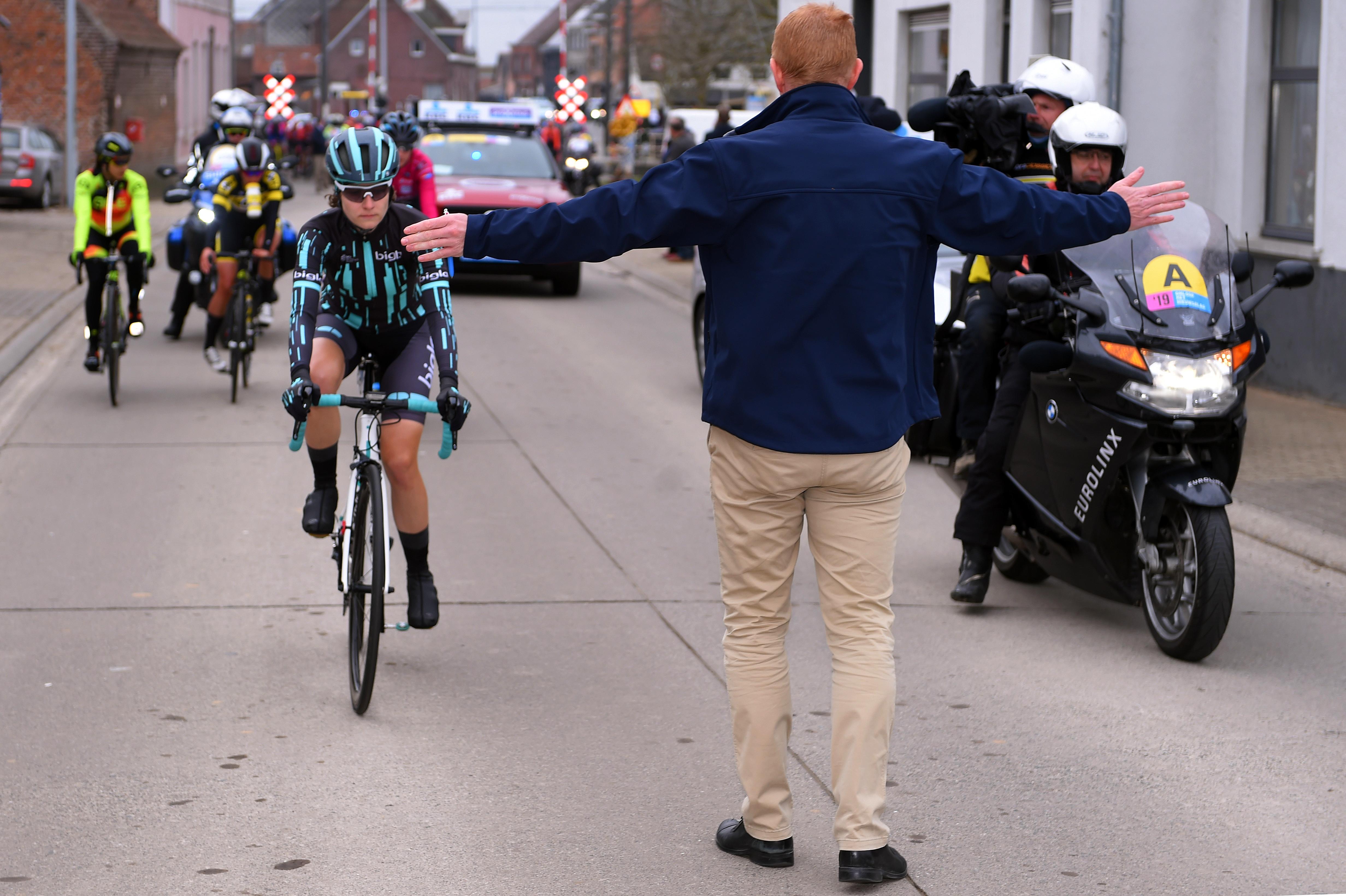 Nicole Hanselmann of Switzerland during the 13th Omloop Het Nieuwsblad race in Ninove, Belgium on March 2, 2019.