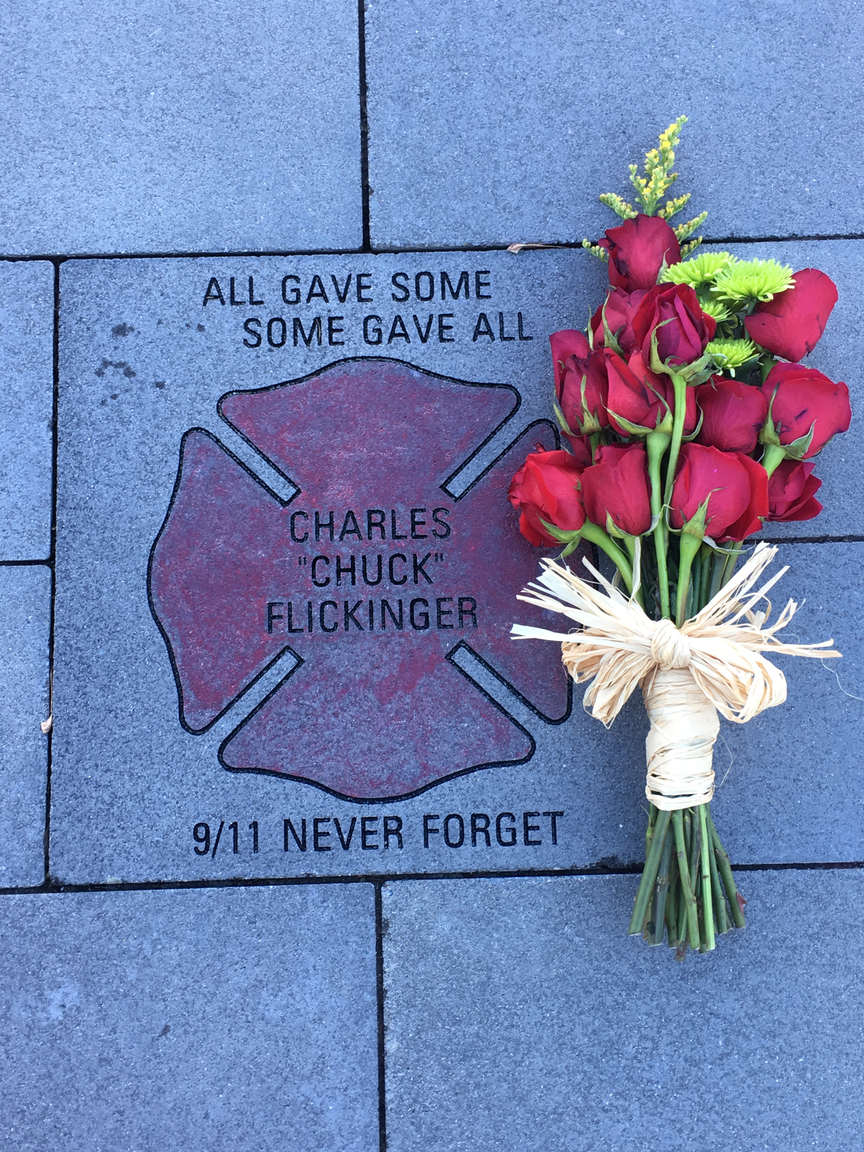 A memorial to Charles  Chuck  Flickinger, who volunteered as a firefighter on 9/11