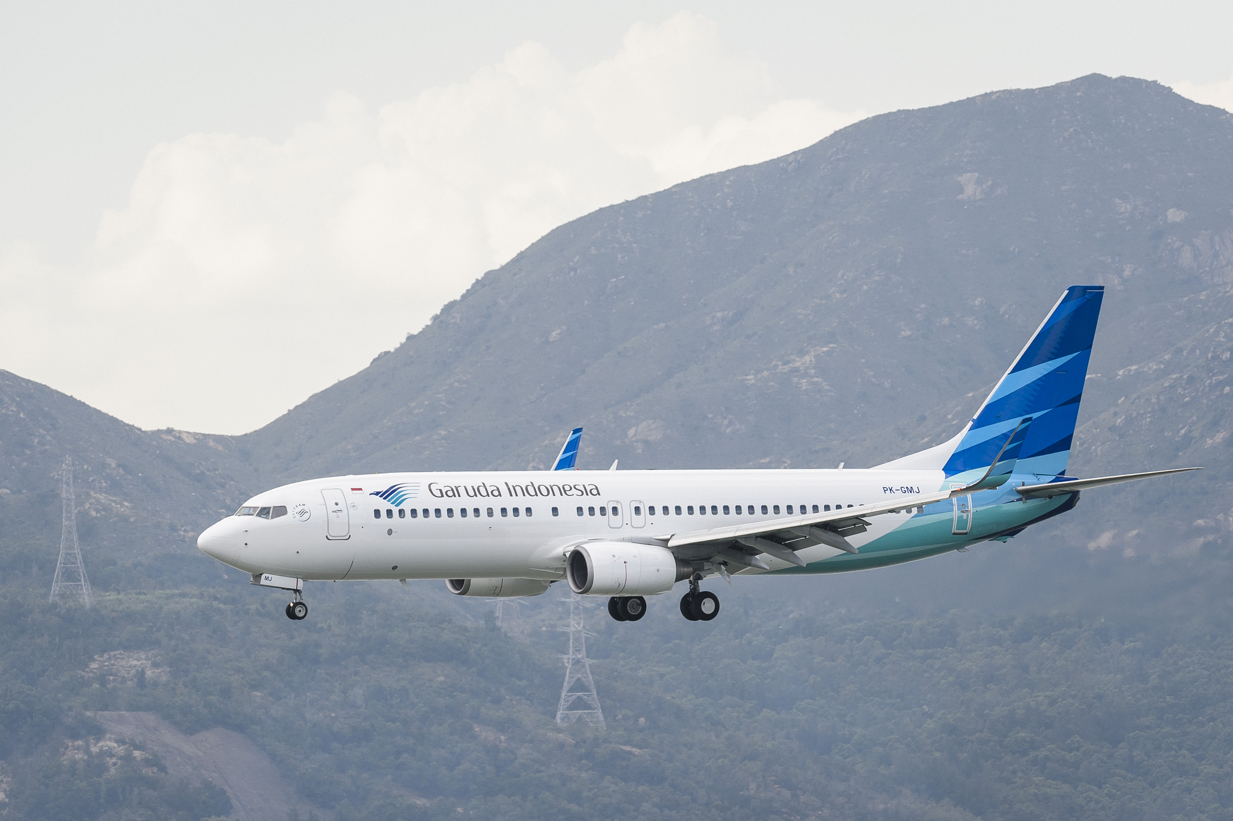 A Boeing 737-8U3 passenger plane belonging to the Garuda Indonesia lands at Hong Kong International Airport. Garuda plans to cancel its 737 MAX contract.
