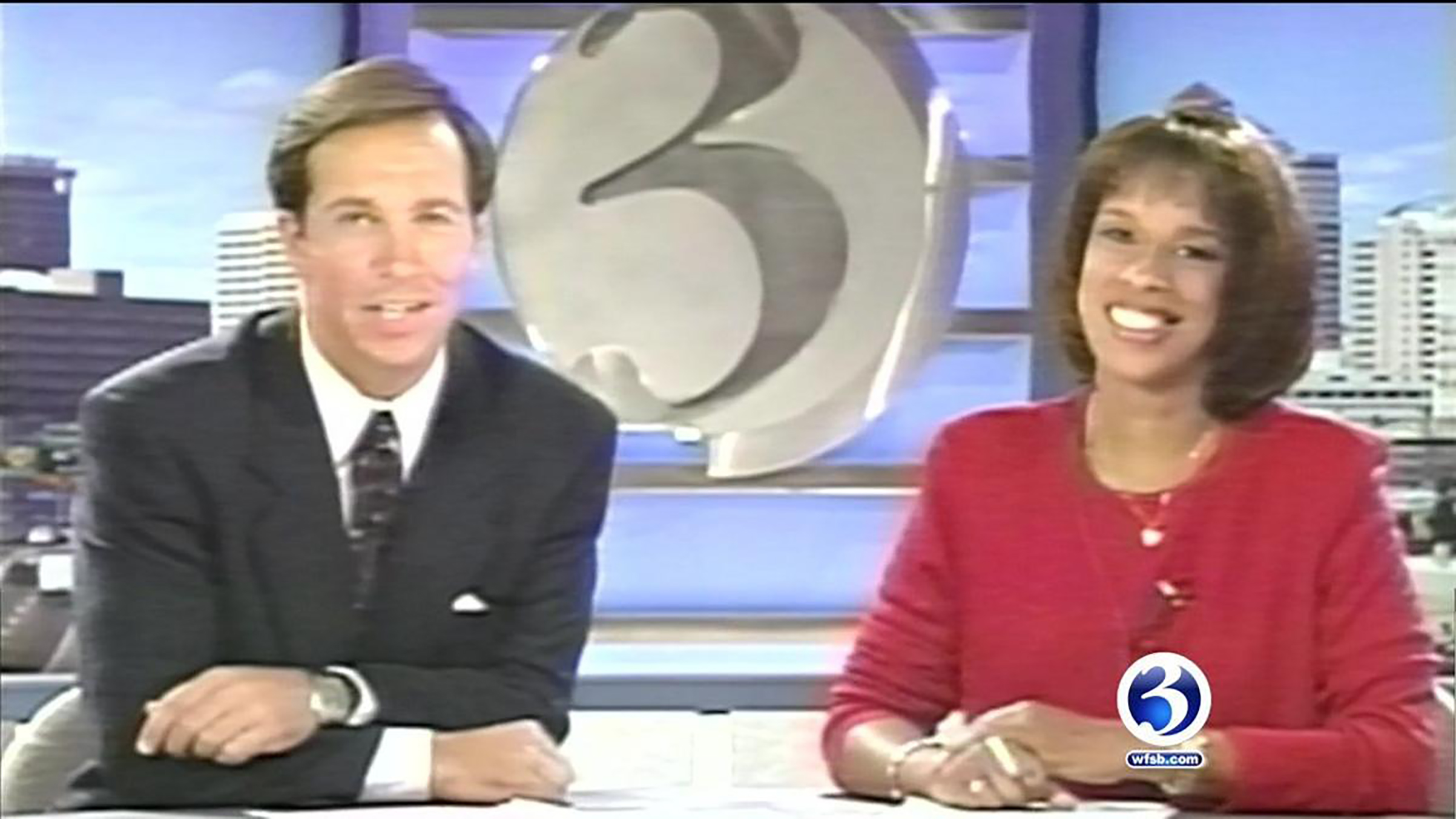 King with her  WFSB co-anchor Dennis House in Hartford