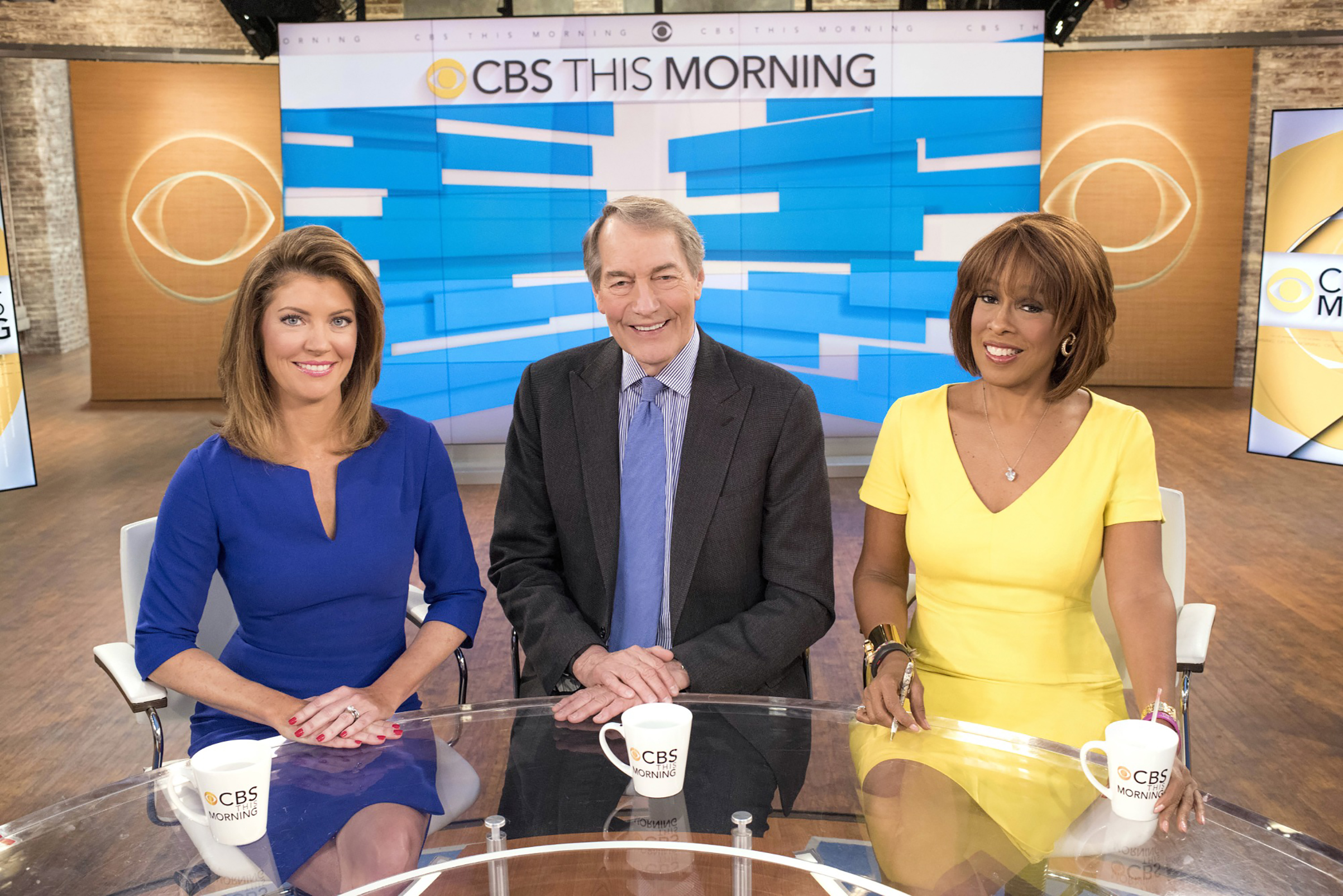 King with morning co-hosts Norah O'Donnell and Charlie Rose at CBS in 2016