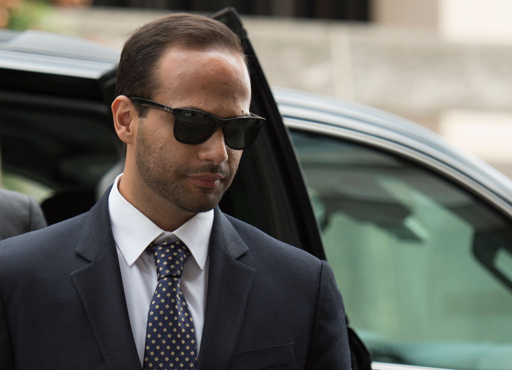 George Papadopoulos arrives at US District Court for his sentencing in Washington, DC on Sept. 7, 2018.