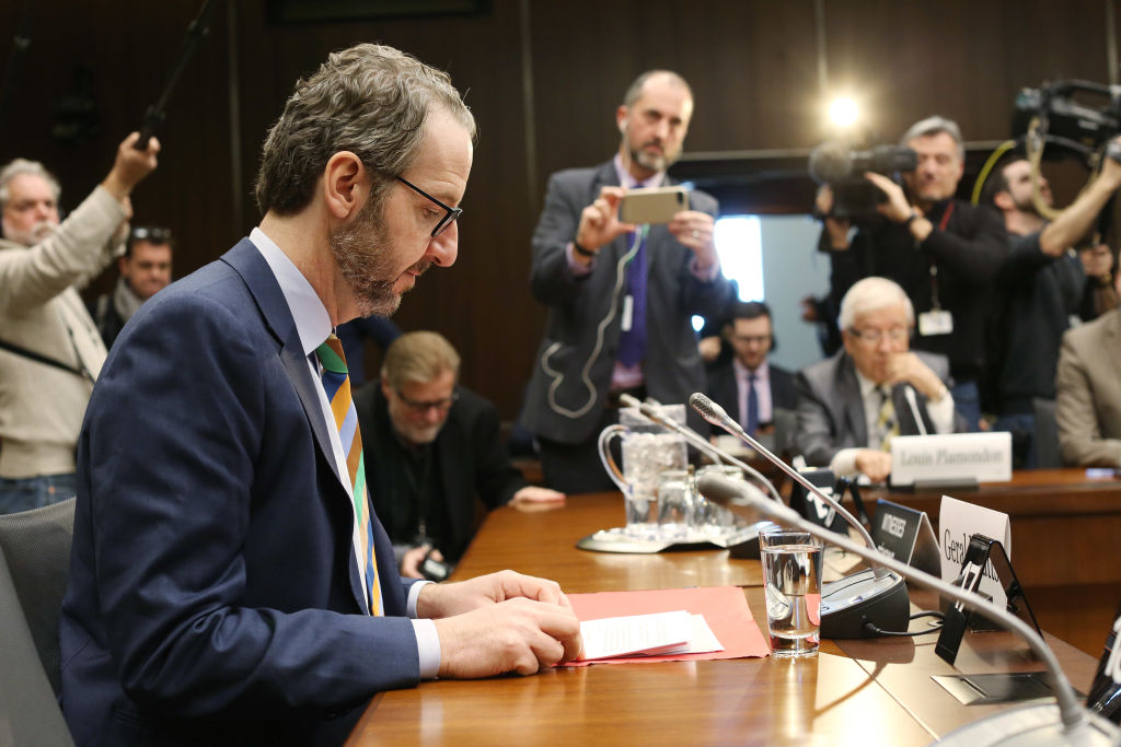 Gerald Butts, former principal secretary to Canada's Prime Minister Justin Trudeau, testifies before the House of Commons justice committee on Parliament Hill on March 6, 2019 in Ottawa, Canada. Trudeau and top aides are accused of meddling in a federal criminal investigation of SNC-Lavalin, a major Canadian engineering firm.