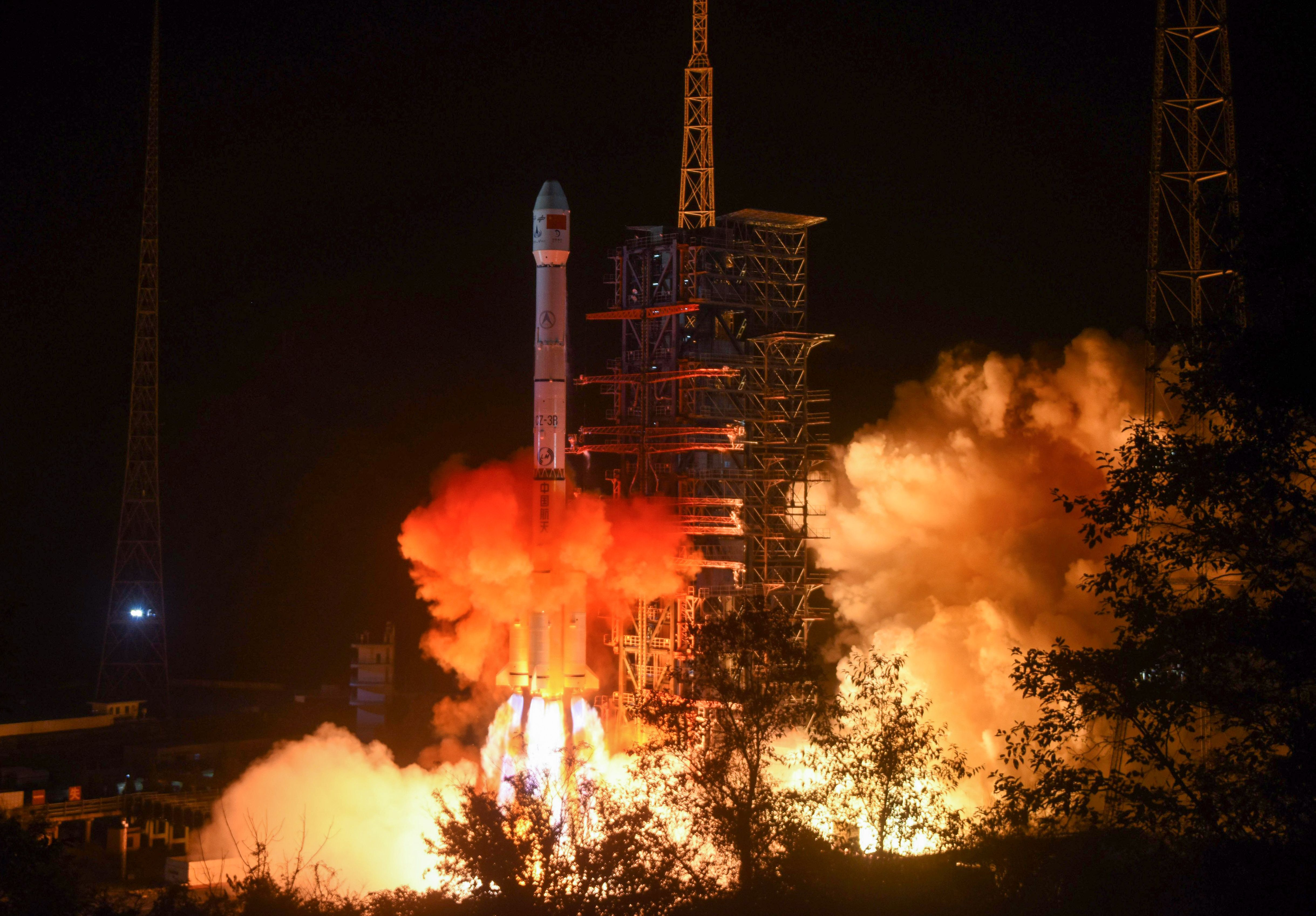 A Long March 3B rocket lifts off from the Xichang launch center in China's southwestern Sichuan province on Dec. 8, 2018.