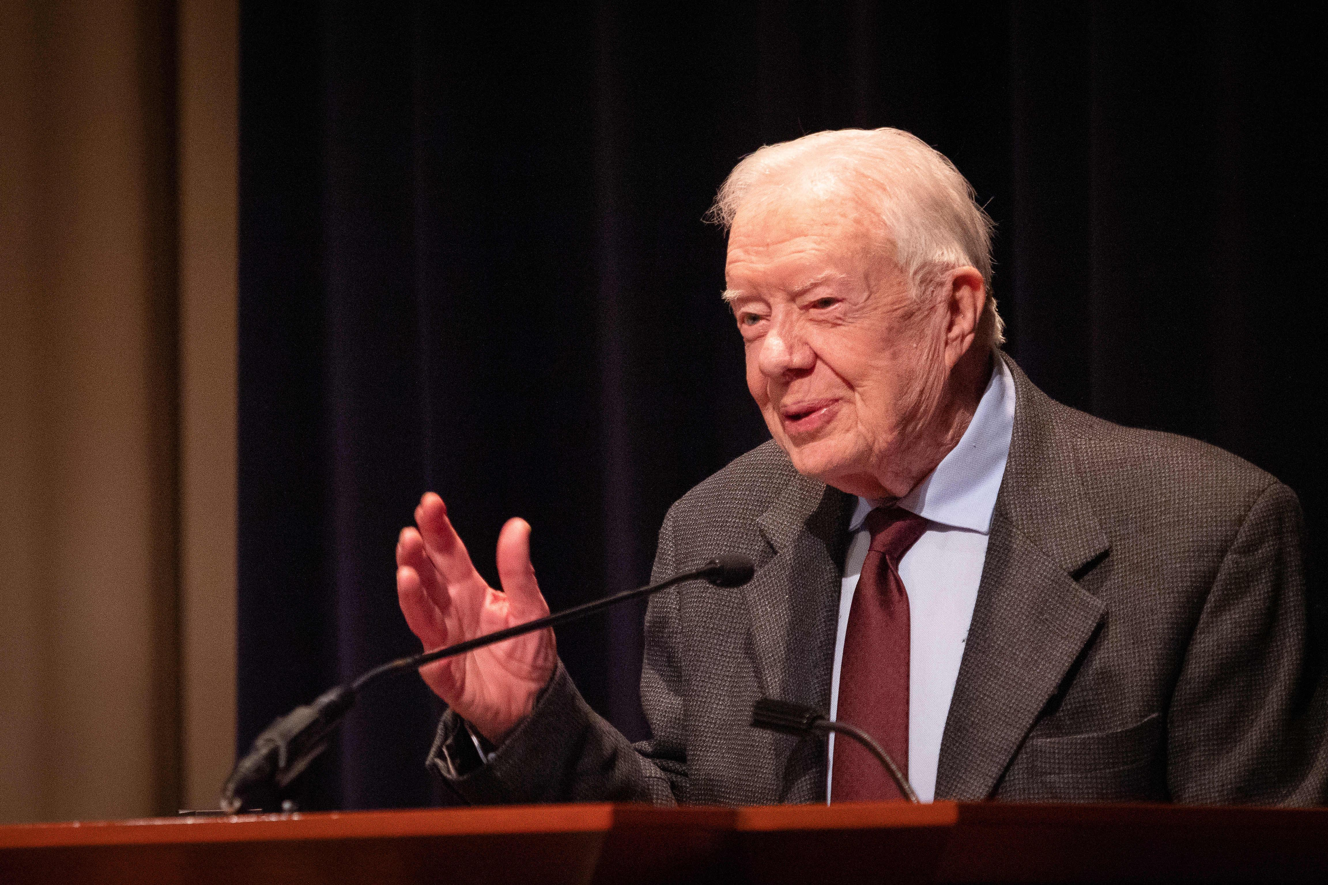 Former U.S. President Jimmy Carter speaks during the symposium commemorating the 40th anniversary of the normalization of US-China relations at the Carter Center in Atlanta on Jan. 18, 2019.