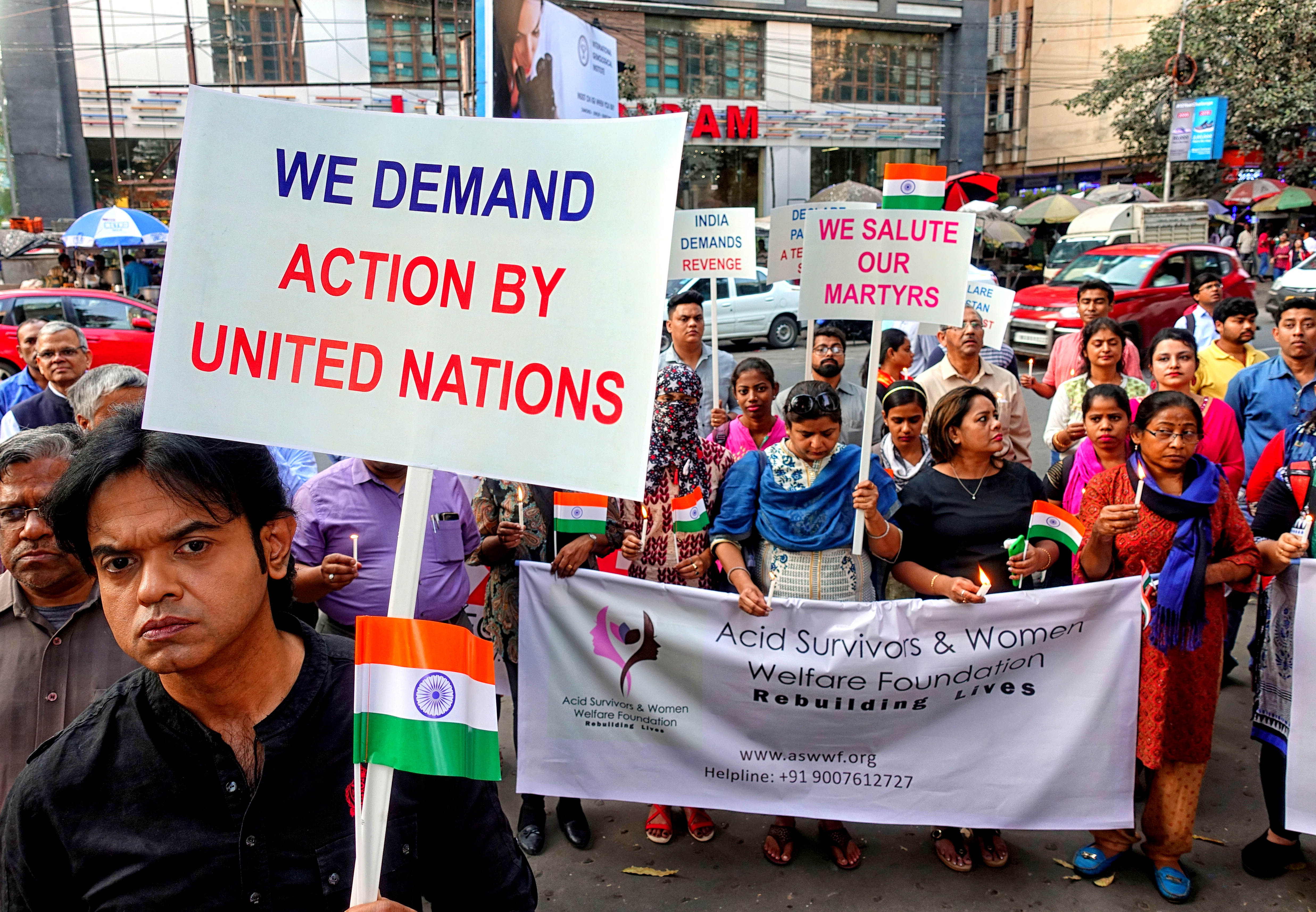 Demonstrators gathering in front of the British Council & UNICEF West Bengal Office demanding U.N. action against Pakistan and the perpetrators of the Pulwama terrorist attack on Feb. 19, 2019.