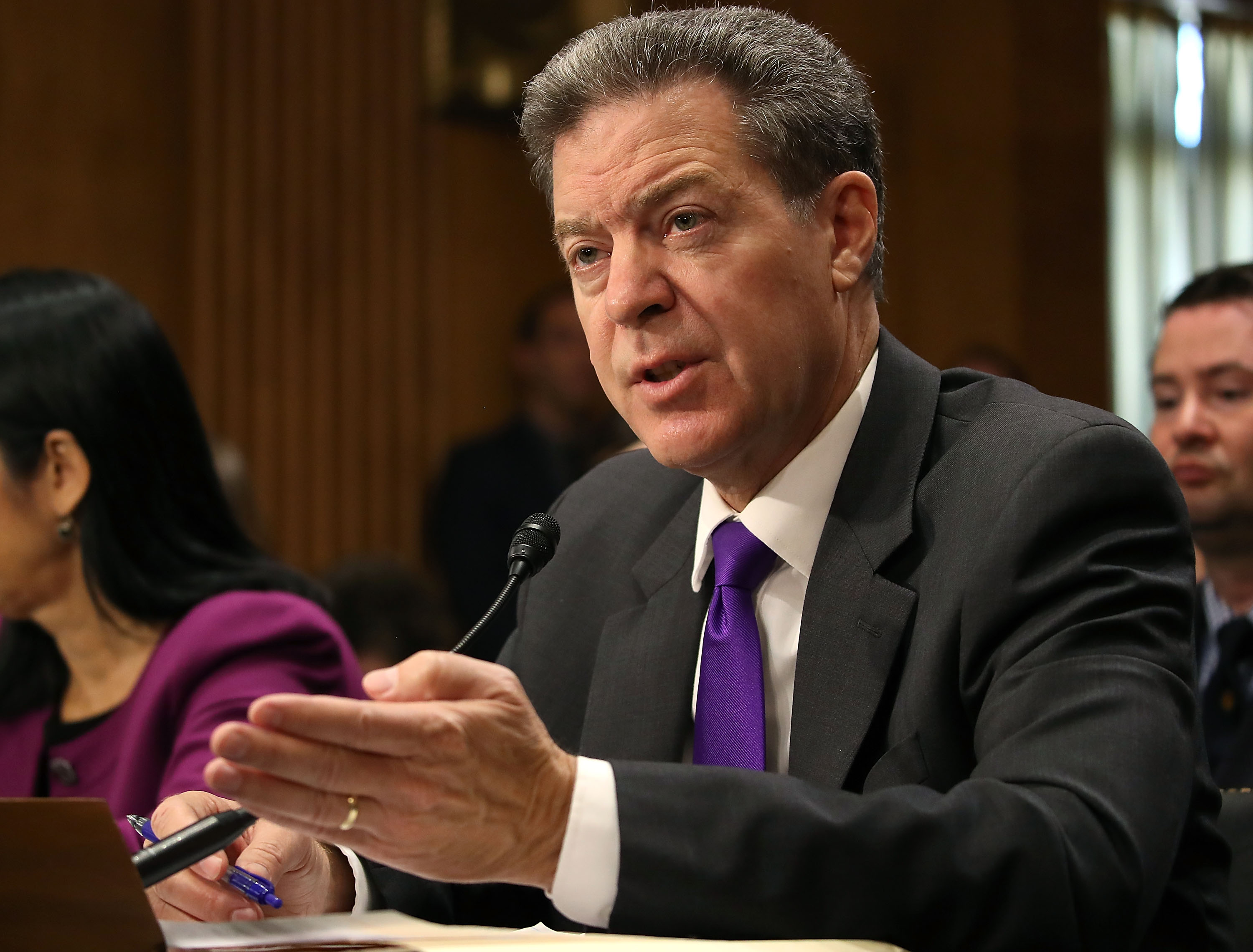 Former US Senator Samuel Dale Brownback (R-KS) testifies during his Senate Foreign Relations Committee confirmation hearing to be ambassador at large for international religious freedom, on Capitol Hill in Washington, DC on Oct. 4, 2017.