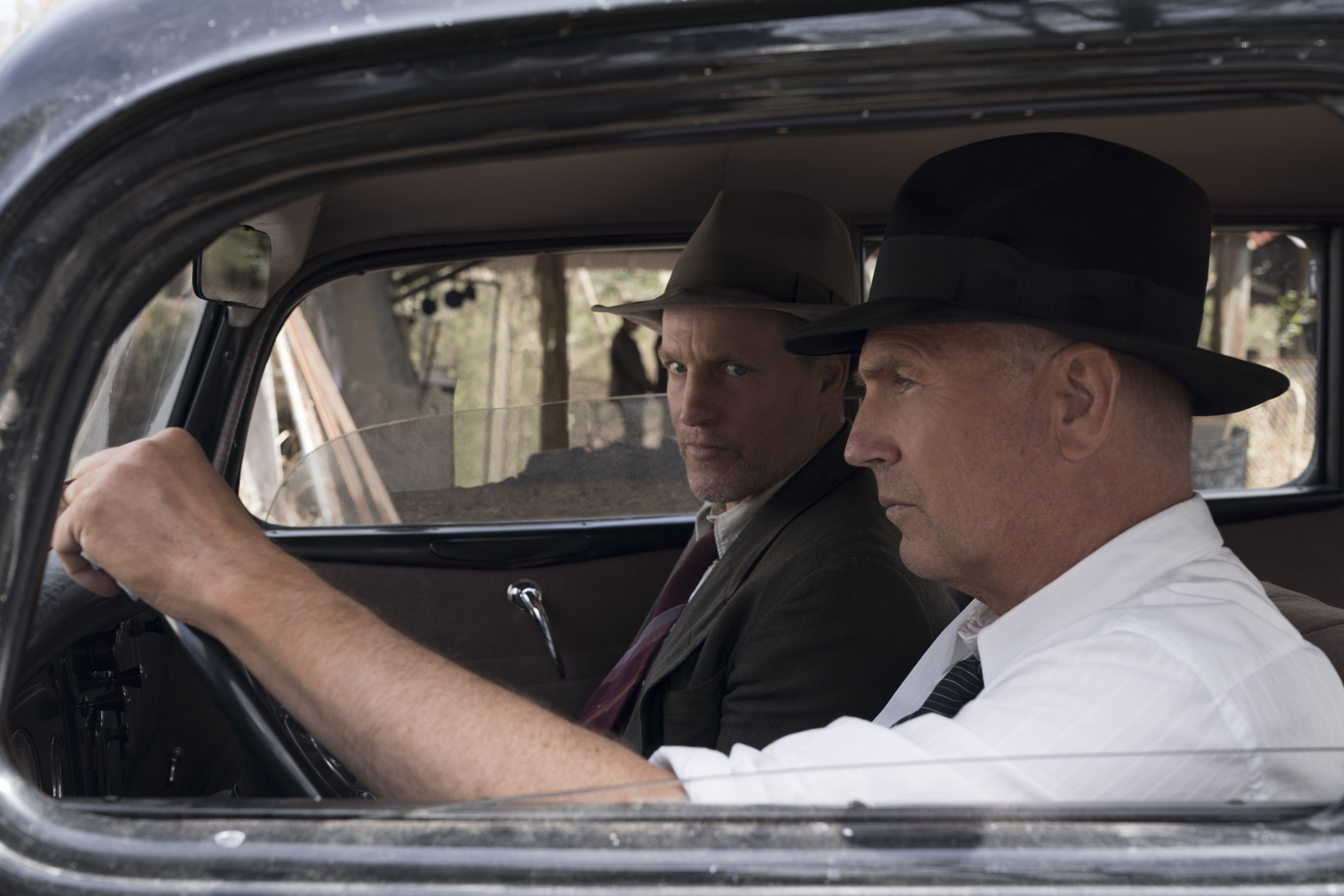 Woody Harrelson, left and Kevin Costner in  The Highwaymen  on Netflix.