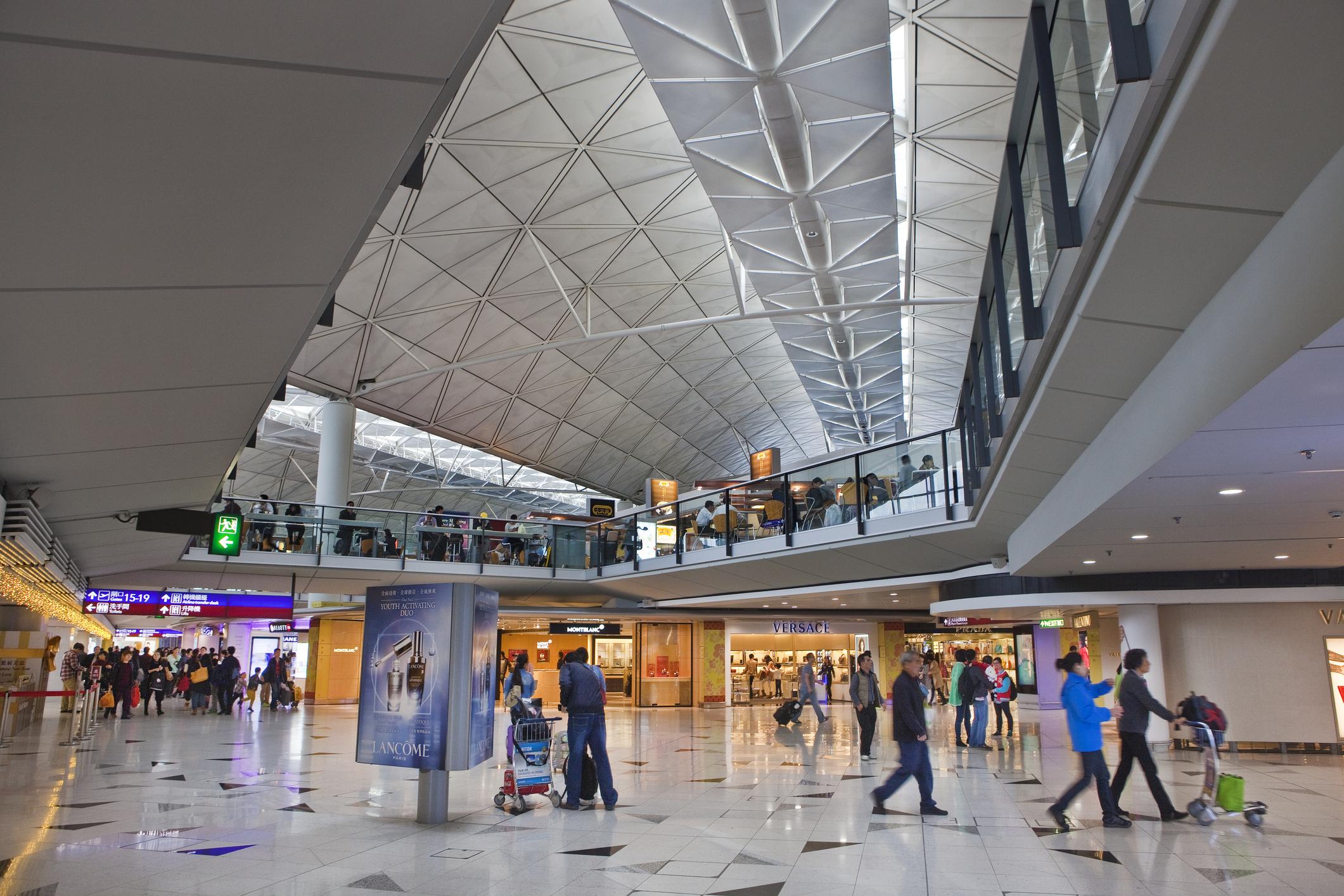 Shopping and dining area at Hong Kong International Airport in Hong Kong, China.