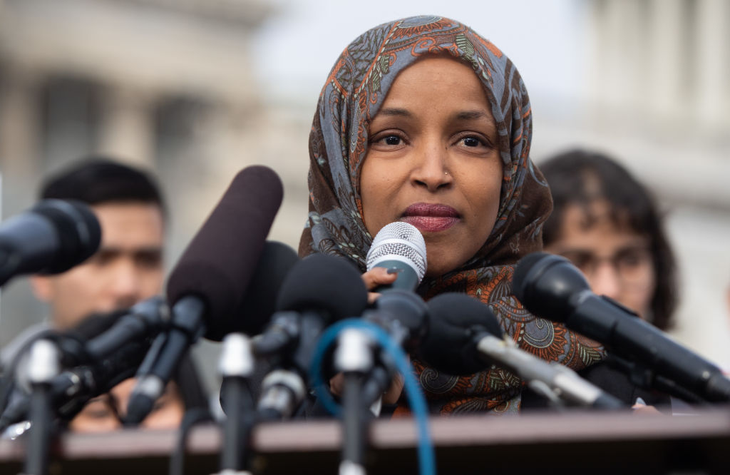 US Representative Ilhan Omar, Democrat of Minnesota outside the US Capitol in Washington, DC, Feb. 7, 2019.