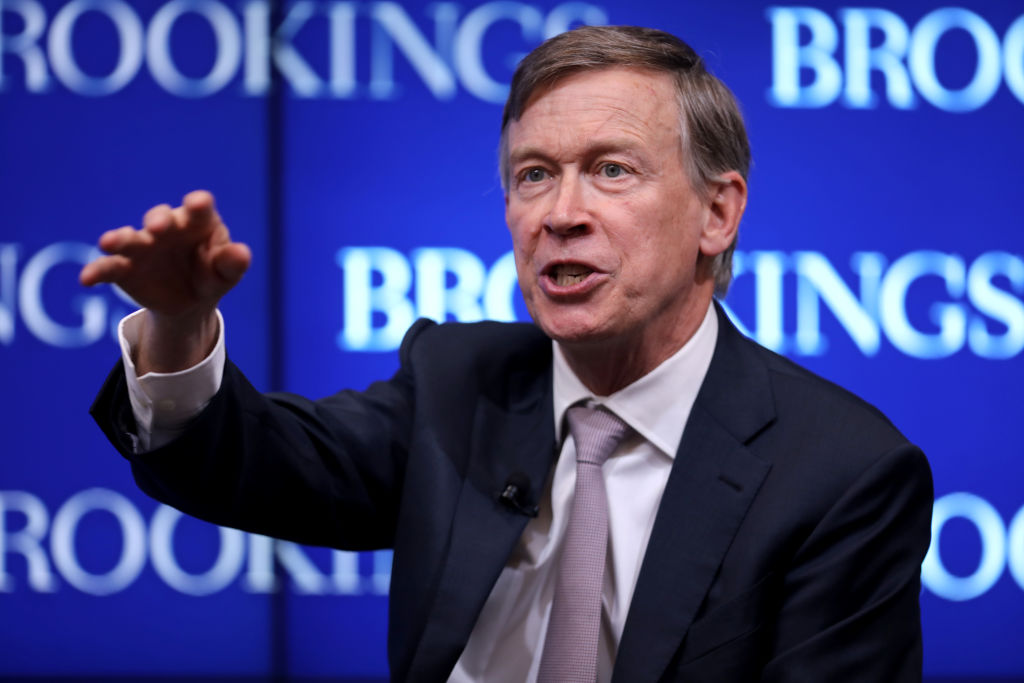 Colorado Gov. John Hickenlooper participates in a discussion as part of the Brookings Institution's Middle Class Initiative October 10, 2018 in Washington, D.C. Chip Somodevilla—Getty Images