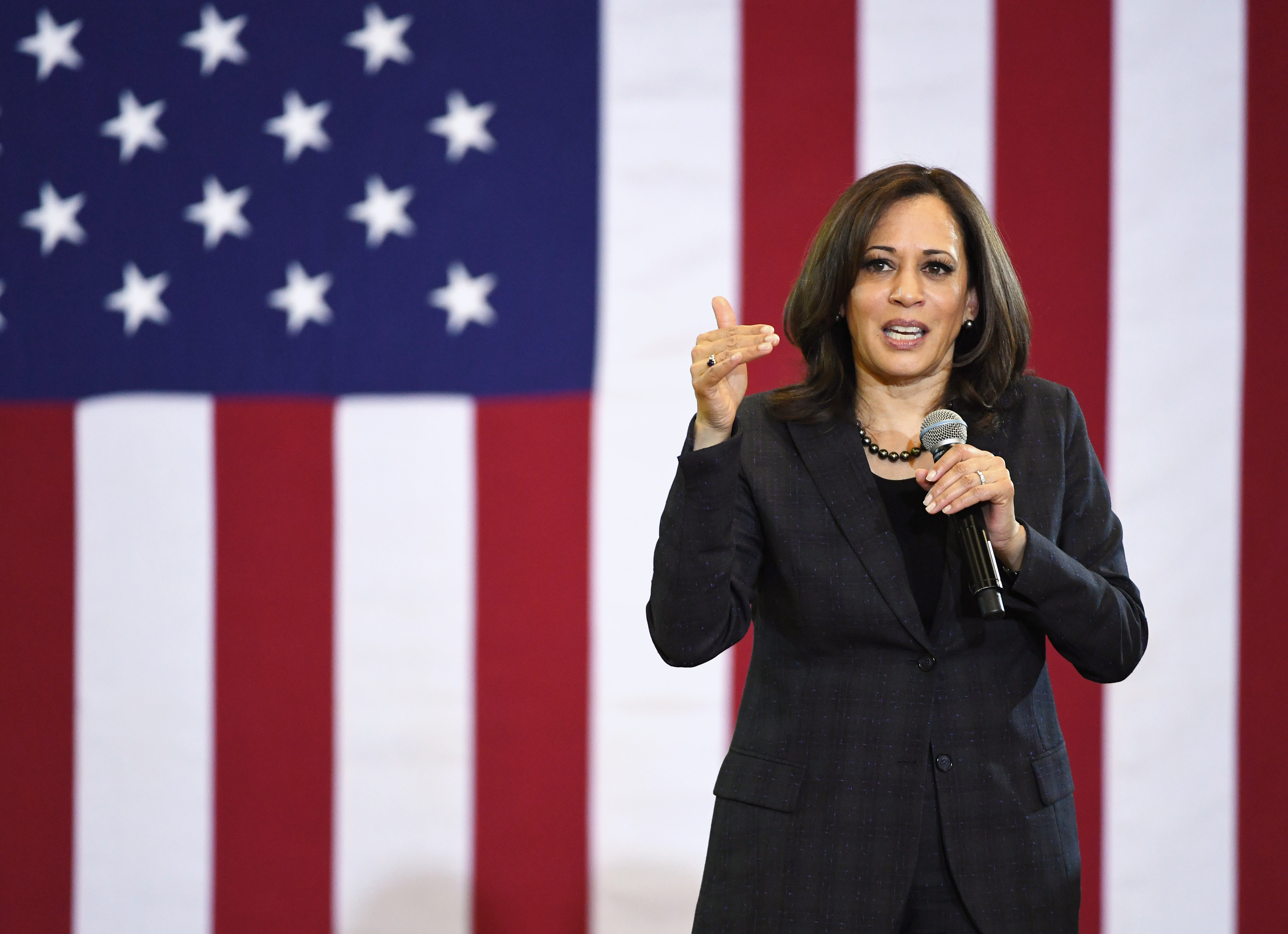 California Sen. Kamala Harris speaks during a town hall meeting at Canyon Springs High School on March 1, 2019 in North Las Vegas, Nevada.