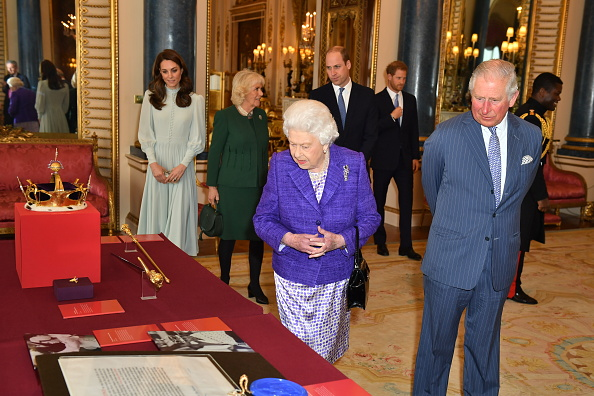 Catherine, Duchess of Cambridge, Camilla, Duchess of Cornwall, Prince William, Duke of Cambridge, Prince Harry, Duke of Sussex, Queen Elizabeth II and Prince Charles, Prince of Wales attend a reception to mark the fiftieth anniversary of the investiture of the Prince of Wales at Buckingham Palace in London on March 5, 2019.